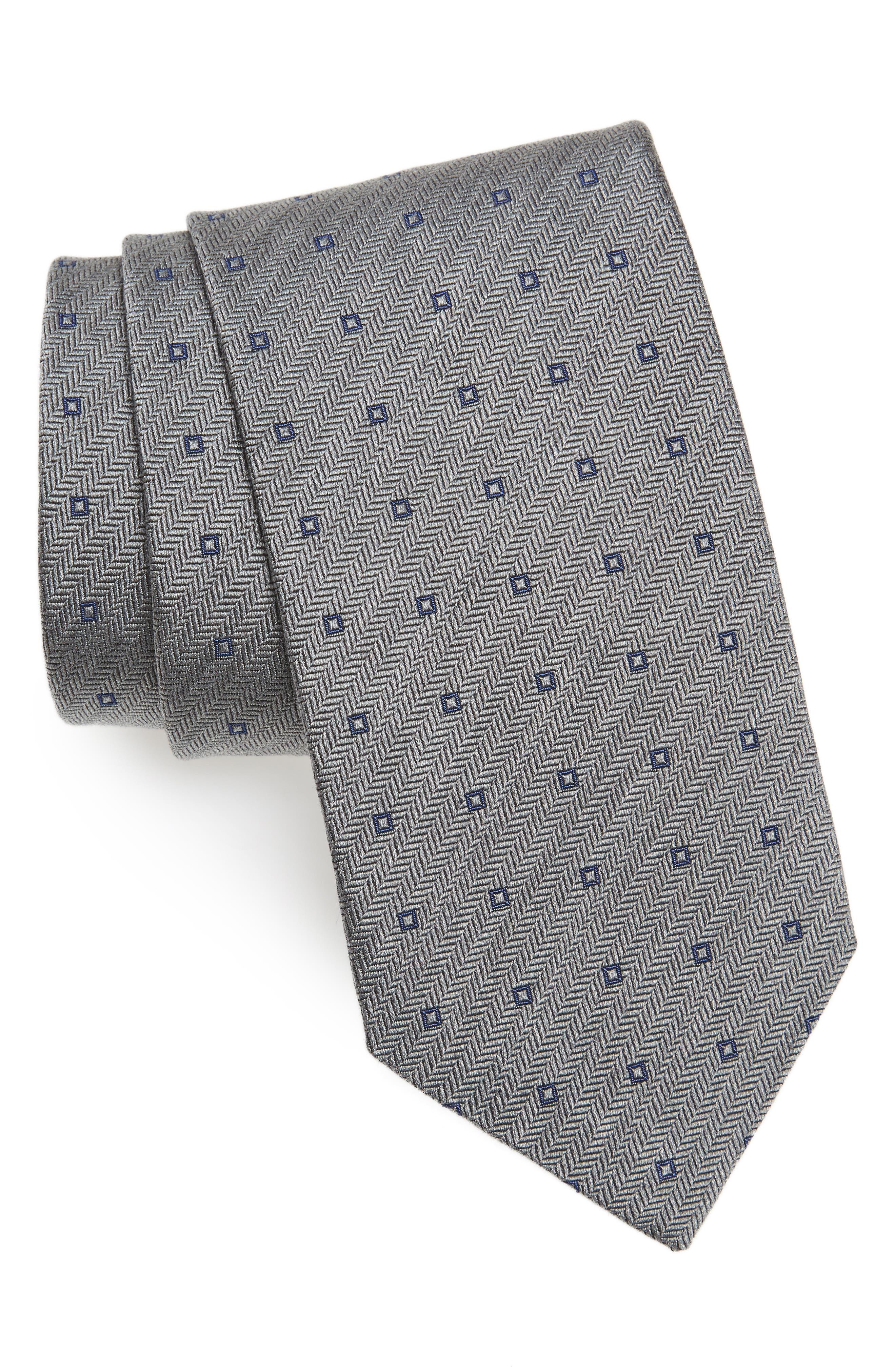 Square Dot Silk Tie,                         Main,                         color, Charcoal/ Blue