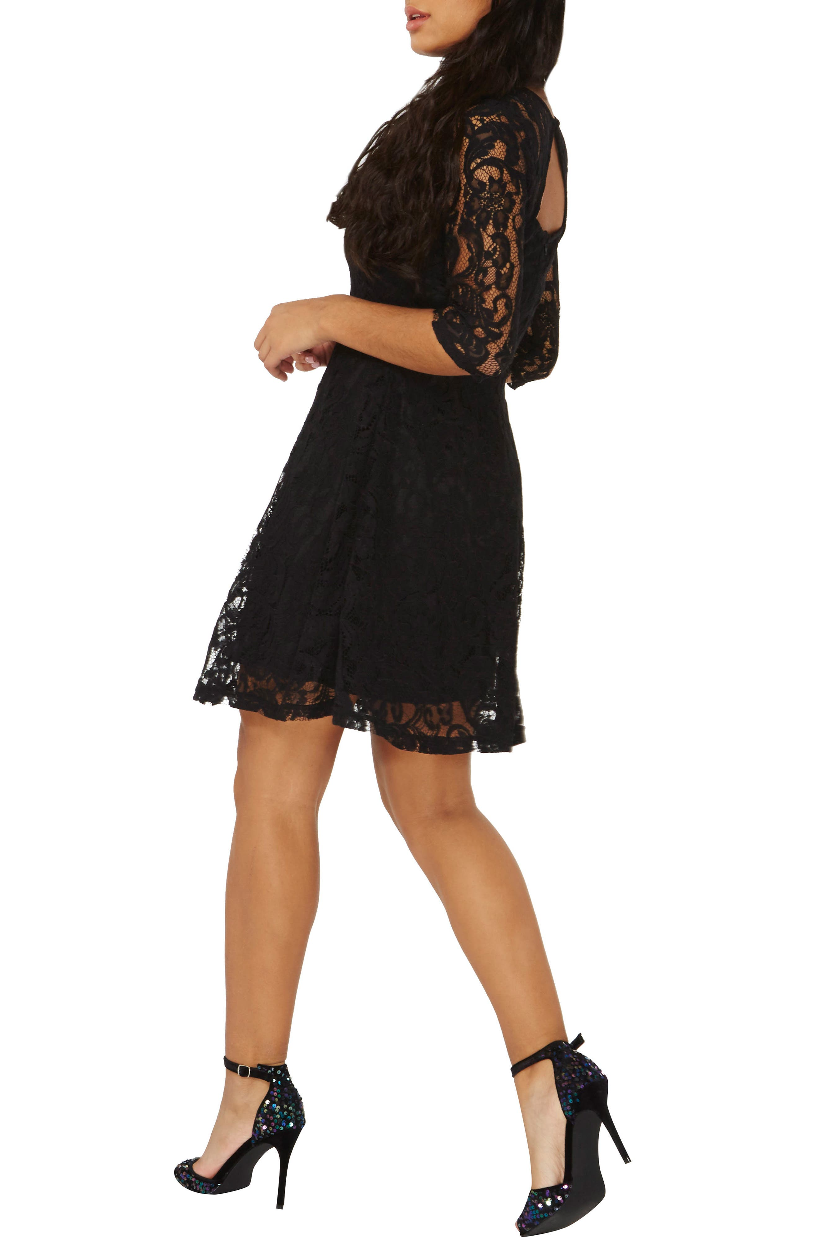 Alternate Image 7  - Dorothy Perkins Lace Fit & Flare Dress