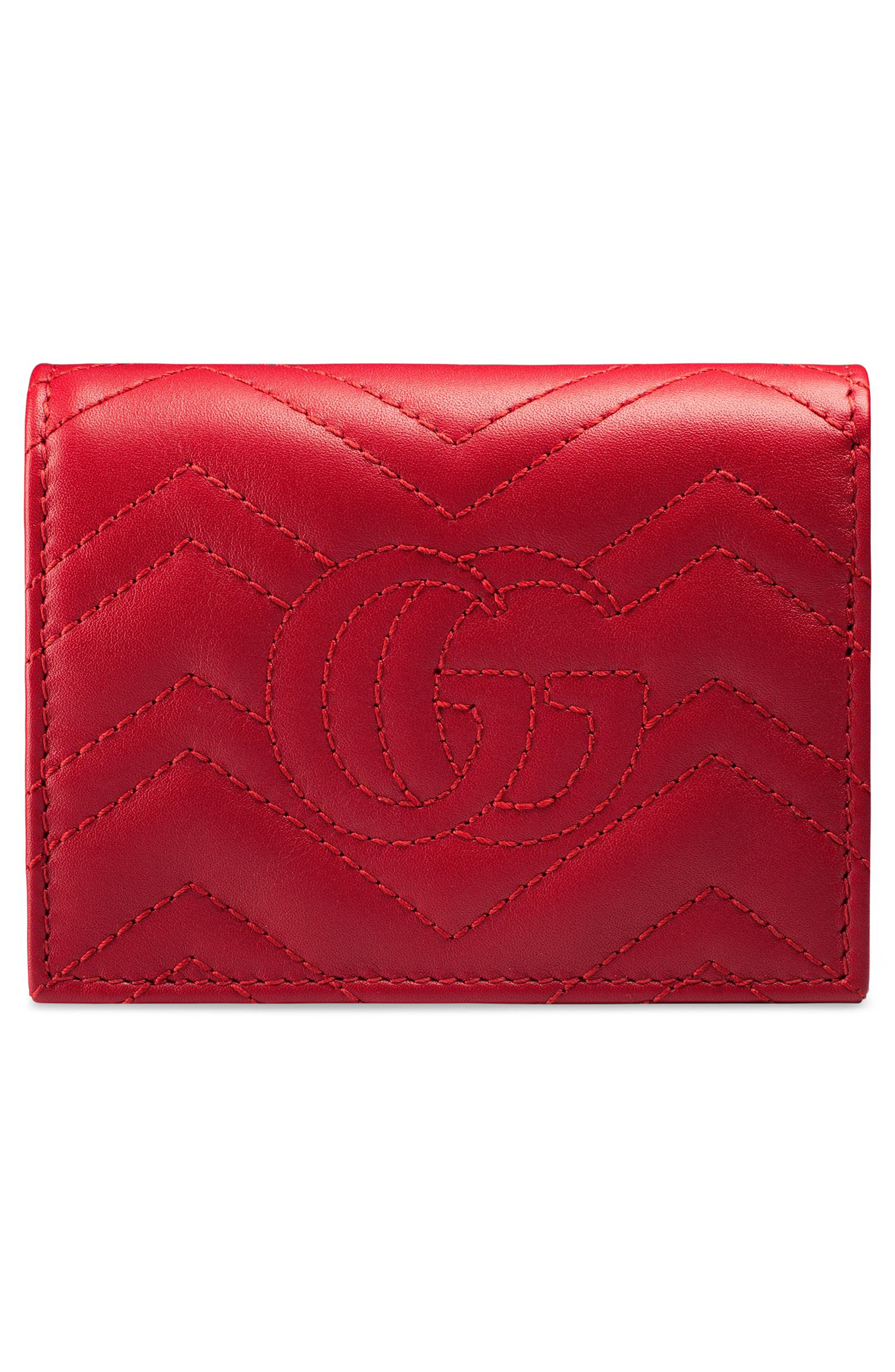 GG Marmont Matelassé Leather Card Case,                             Alternate thumbnail 4, color,                             Hibiscus Red