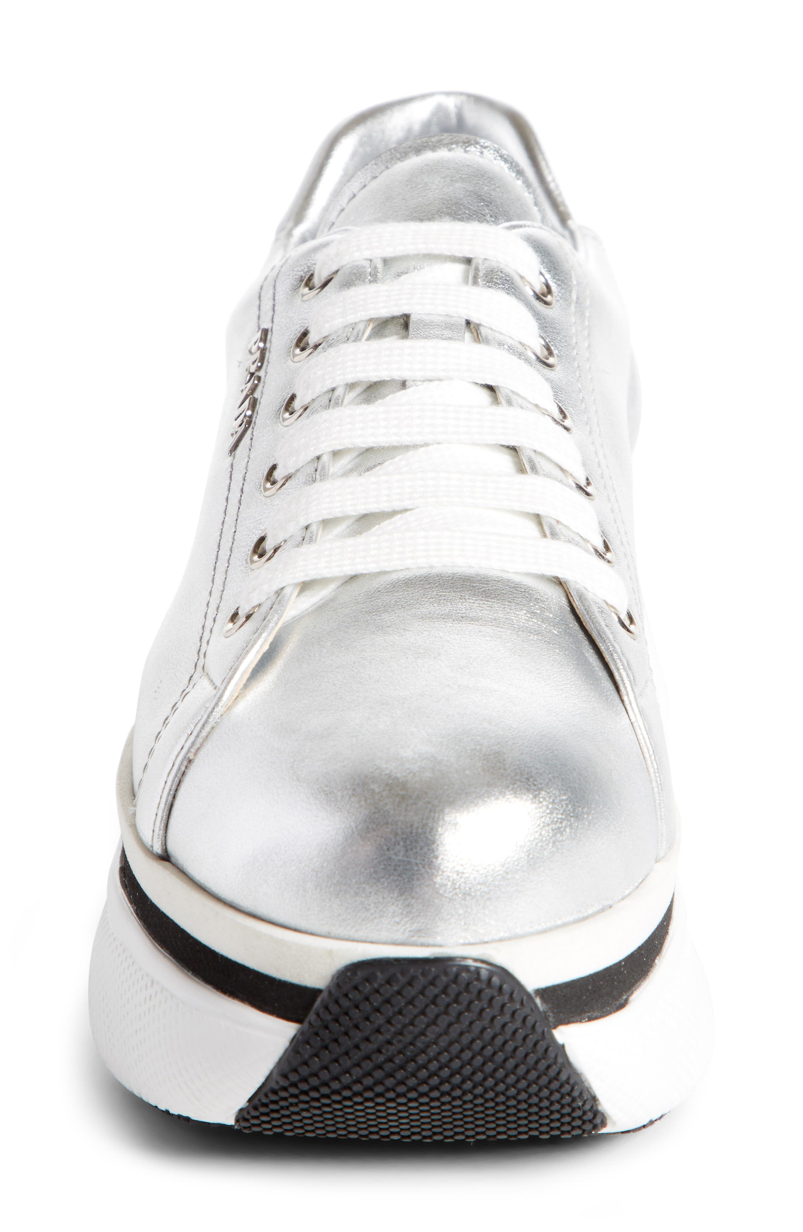 Platform Lace-Up Sneaker,                             Alternate thumbnail 3, color,                             Silver