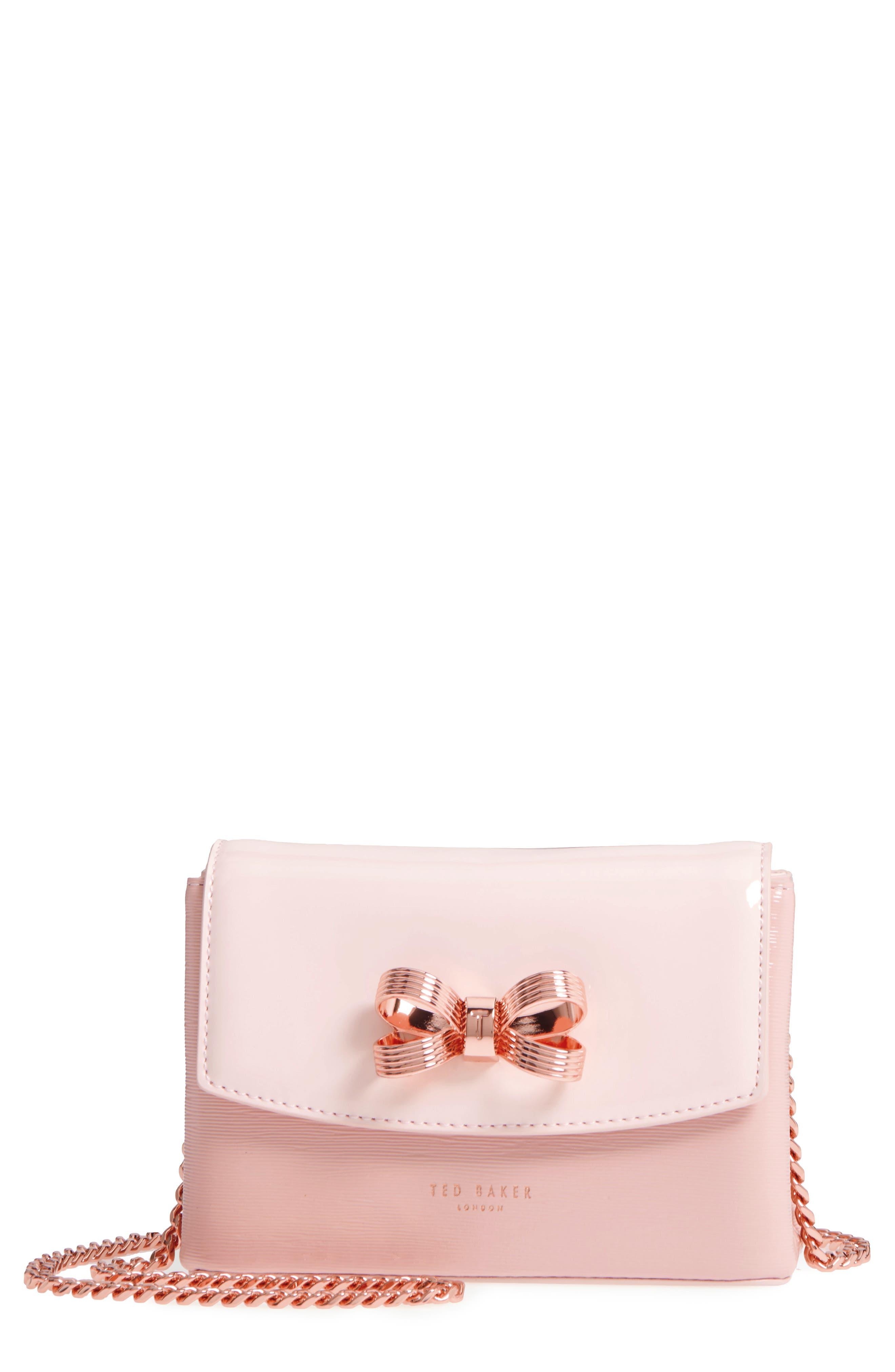Loopa Bow Mini Leather Crossbody Bag,                         Main,                         color, Light Pink