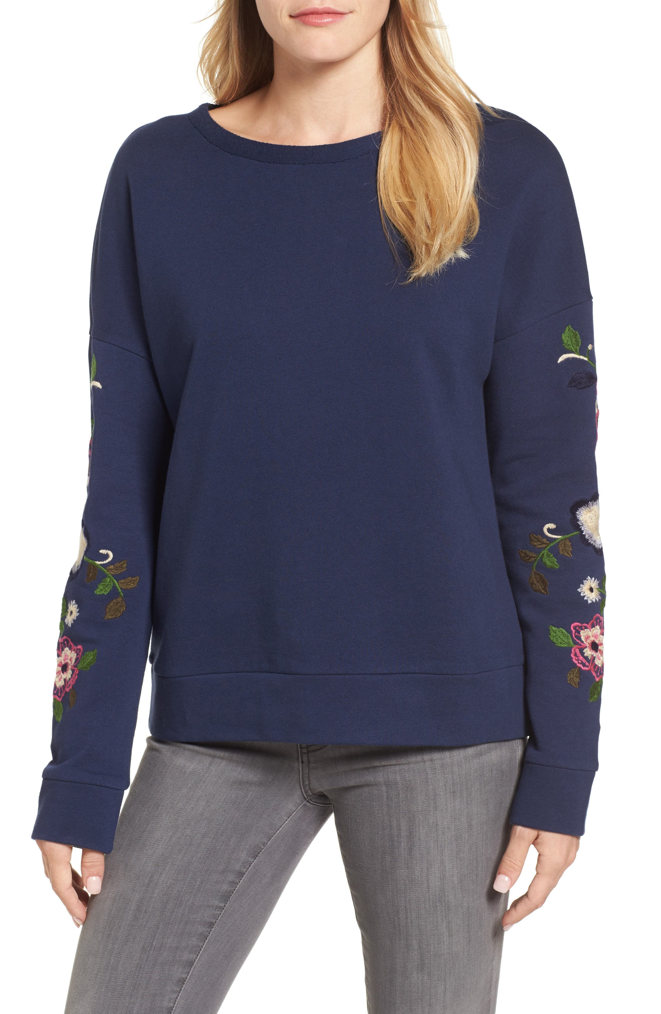 Embroidered Sleeve Sweatshirt,                         Main,                         color, Navy- Rose Floral
