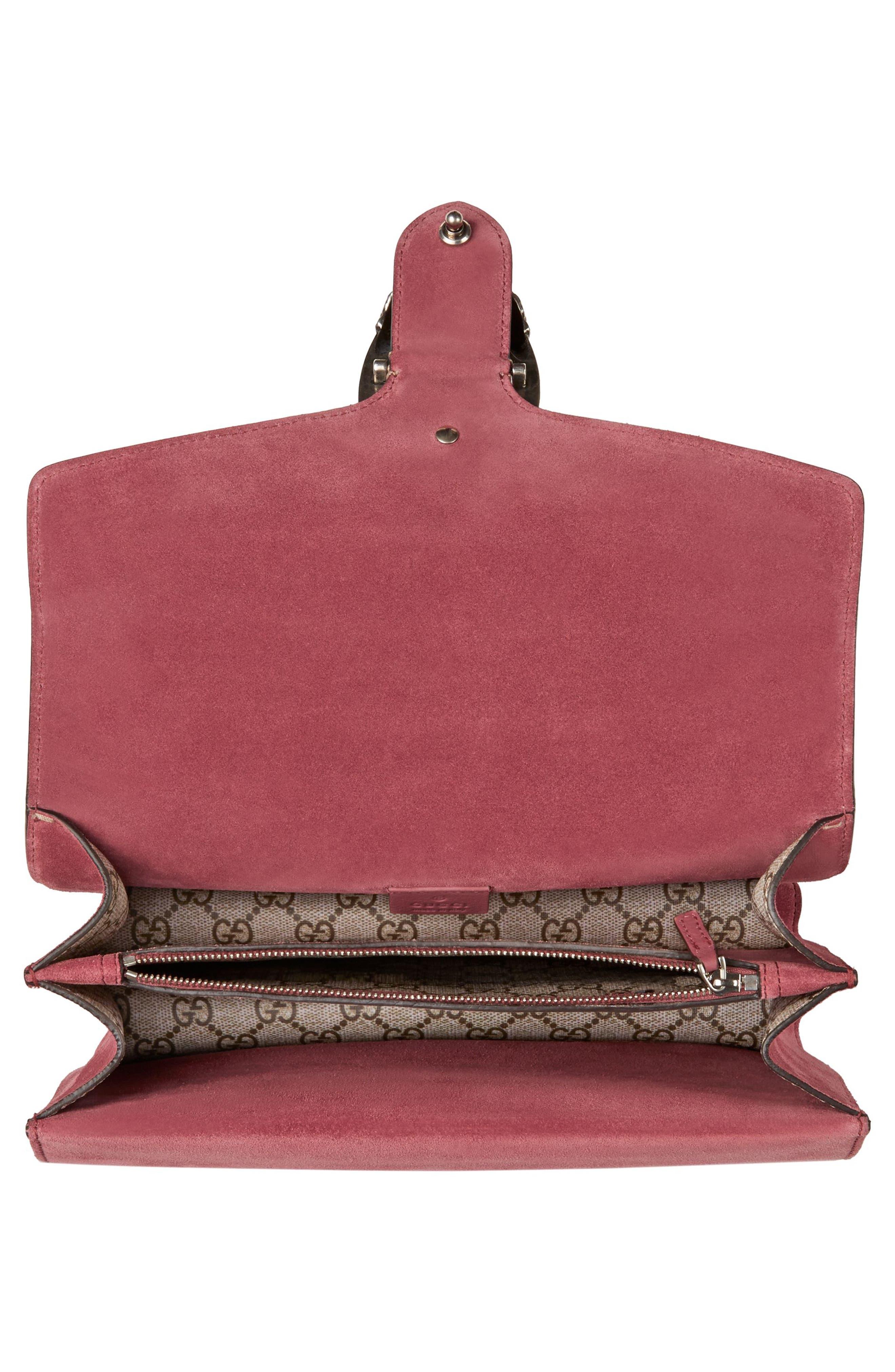 Small Dionysus Floral GG Supreme Canvas Shoulder Bag,                             Alternate thumbnail 3, color,                             Beige Ebony/ Dry Rose