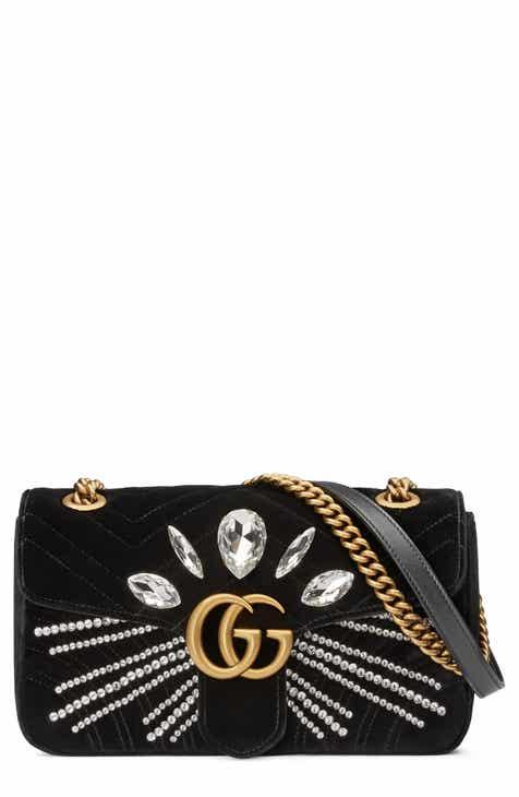 adea2b820e6 Gucci GG Marmont 2.0 Crystal Embellished Velvet Crossbody Bag