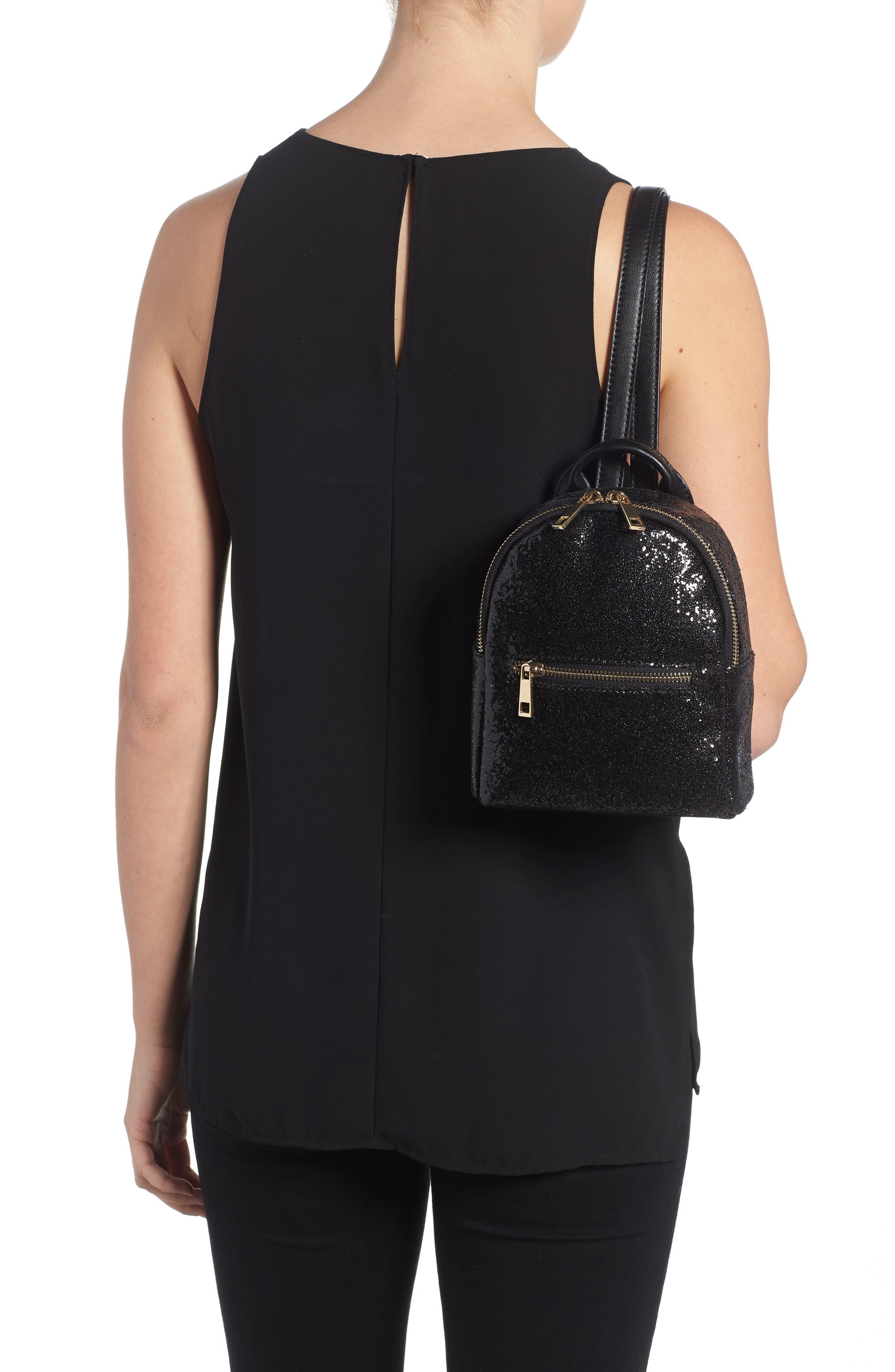 Mali + Lili Glitter Vegan Leather Backpack,                             Alternate thumbnail 2, color,                             Black