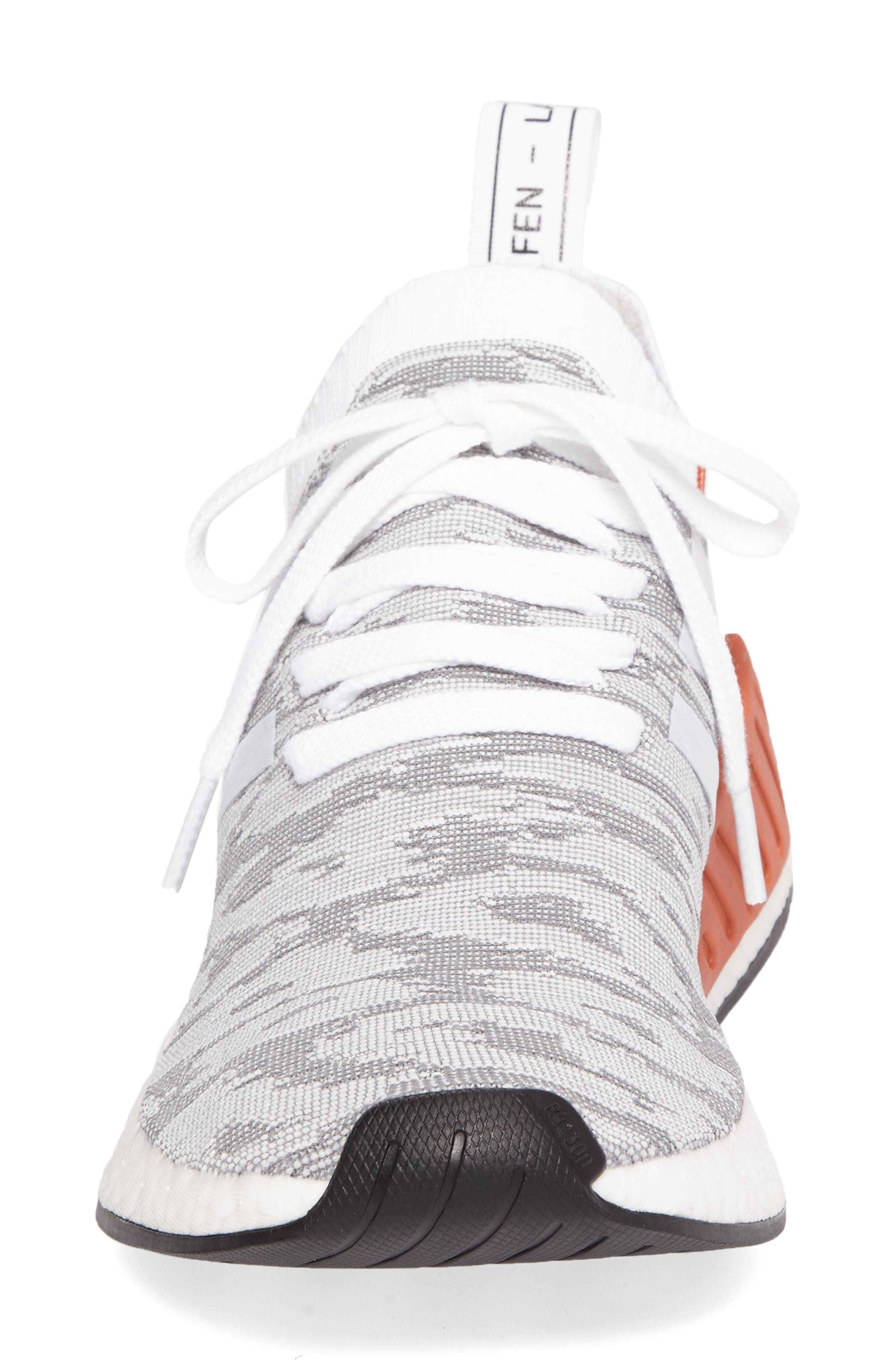 NMD R2 Primeknit Running Shoe,                             Alternate thumbnail 4, color,                             White/ White/ Core Black