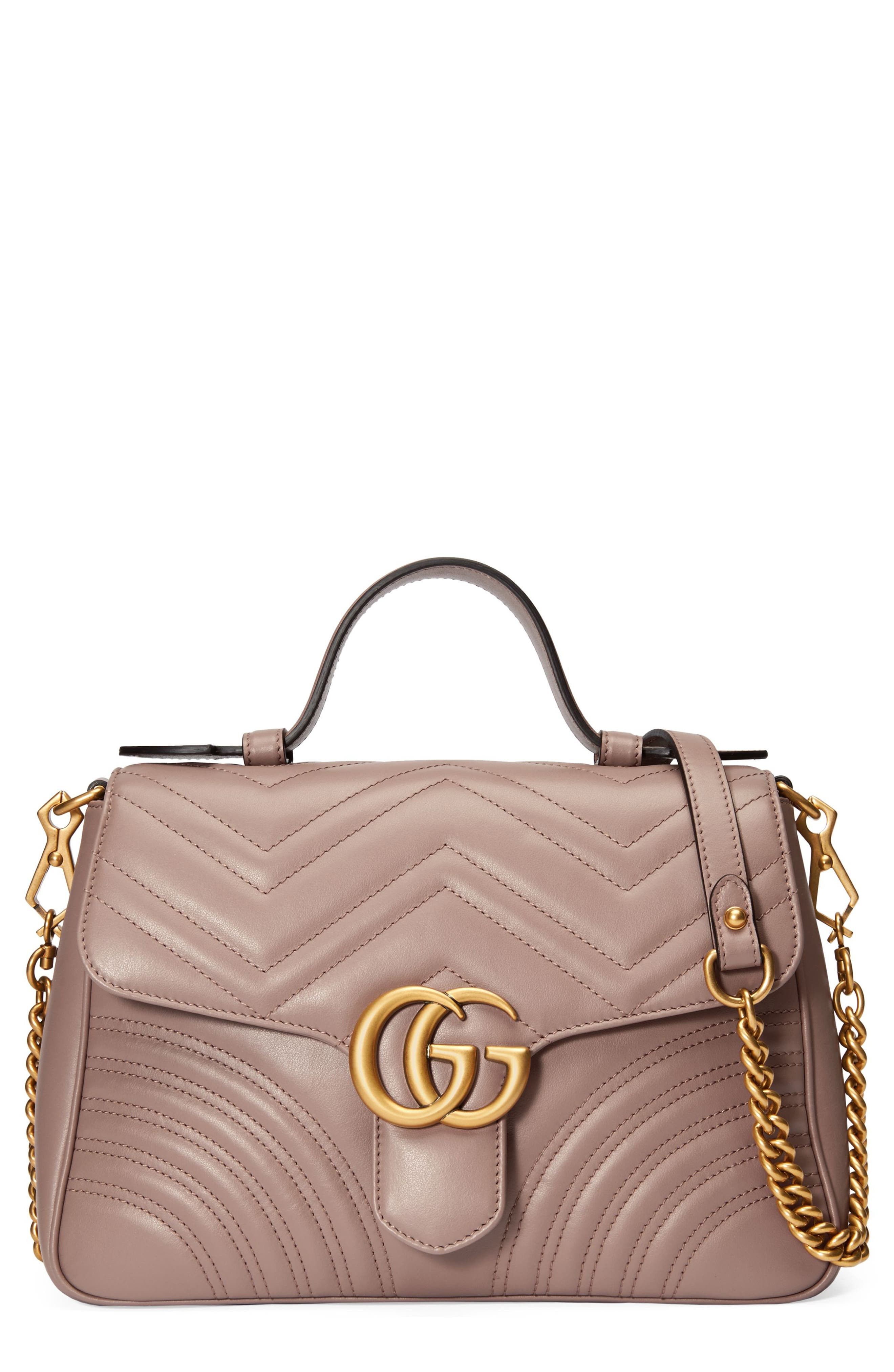 Gucci Gg Marmont Small Chevron Quilted Top Handle Bag With