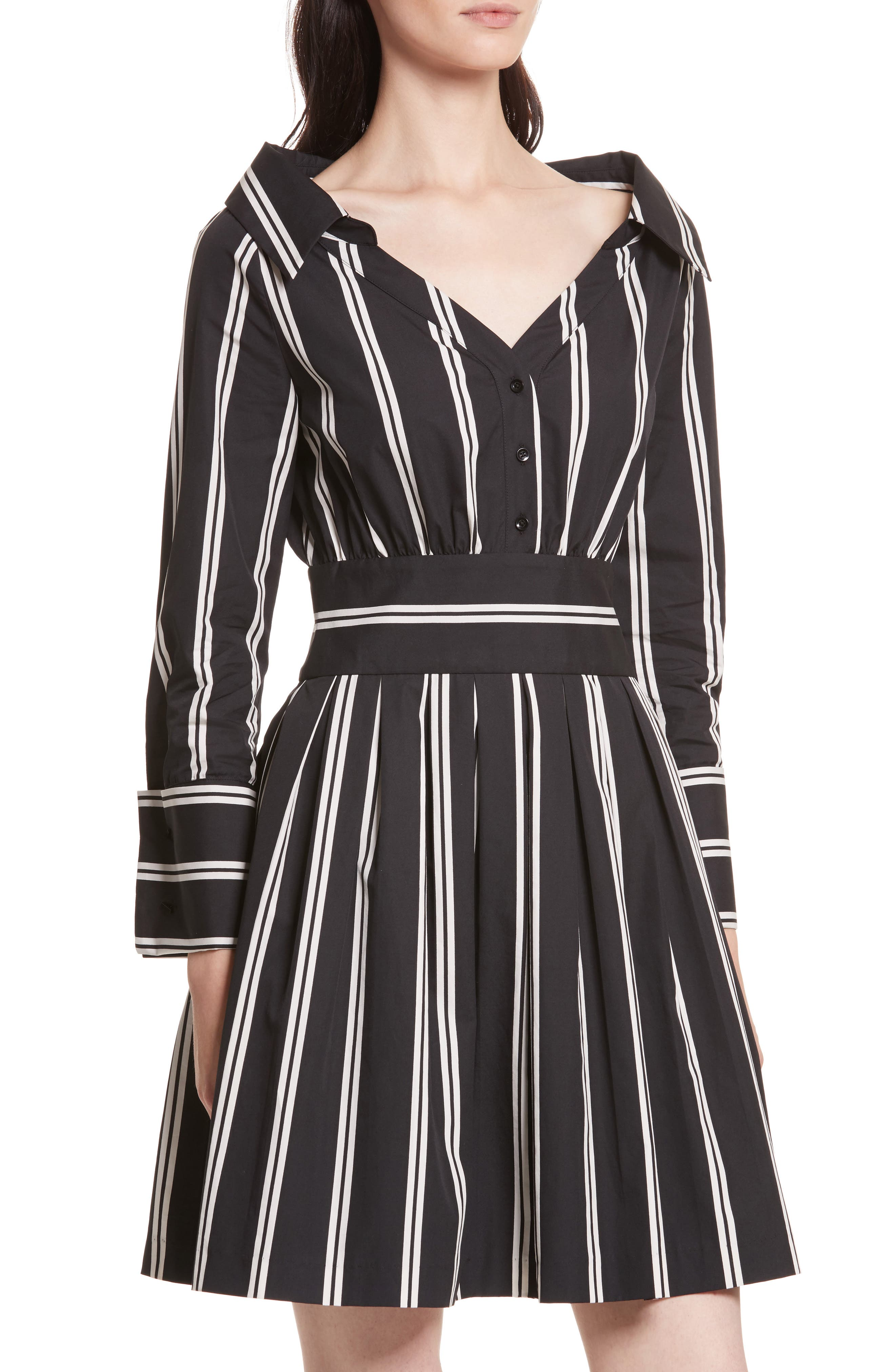 Iliana Stripe Fit & Flare Dress,                             Alternate thumbnail 4, color,                             Mod Pinstripe