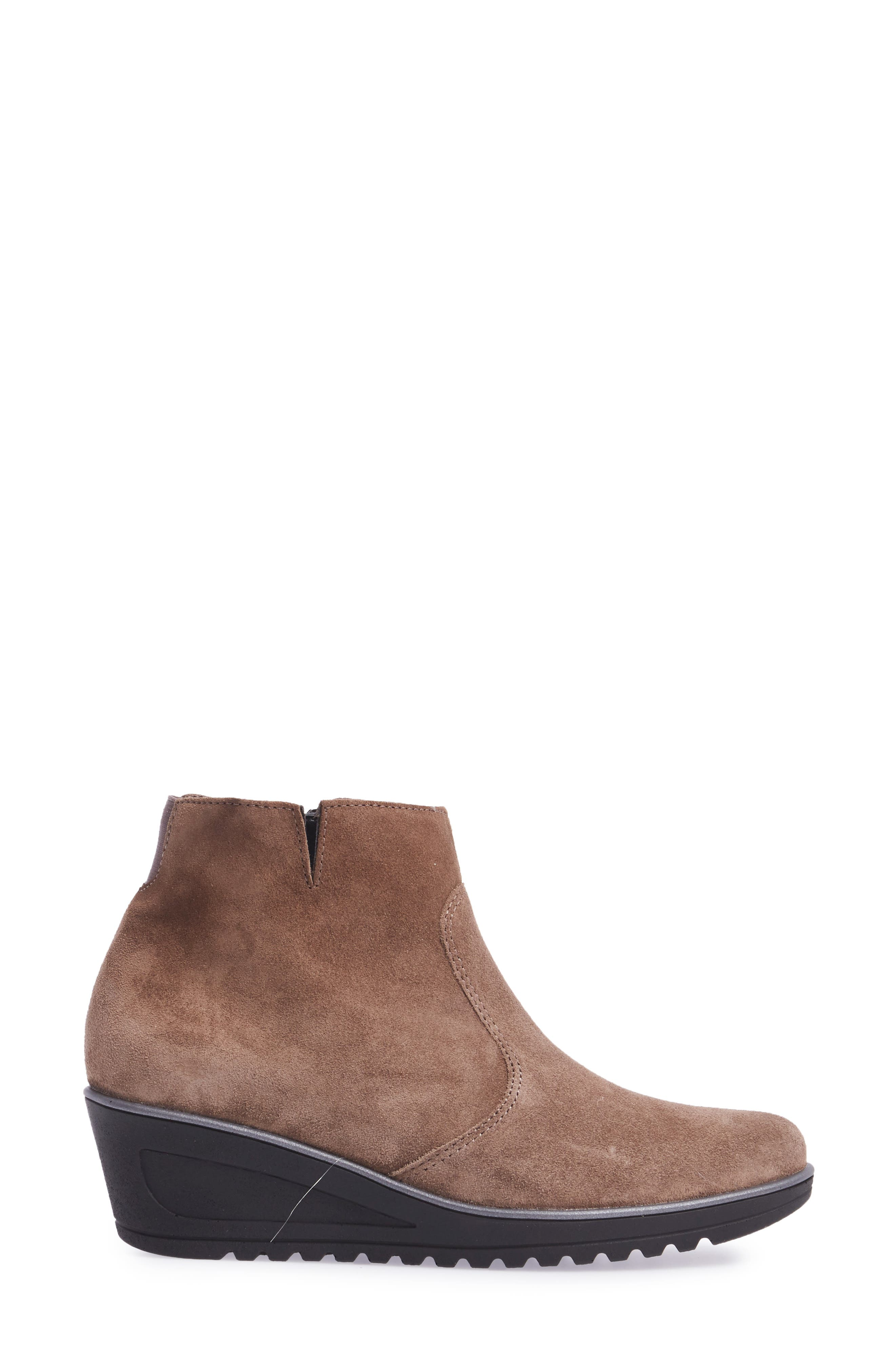 Hessa Wedge Bootie,                             Alternate thumbnail 3, color,                             Teak Suede