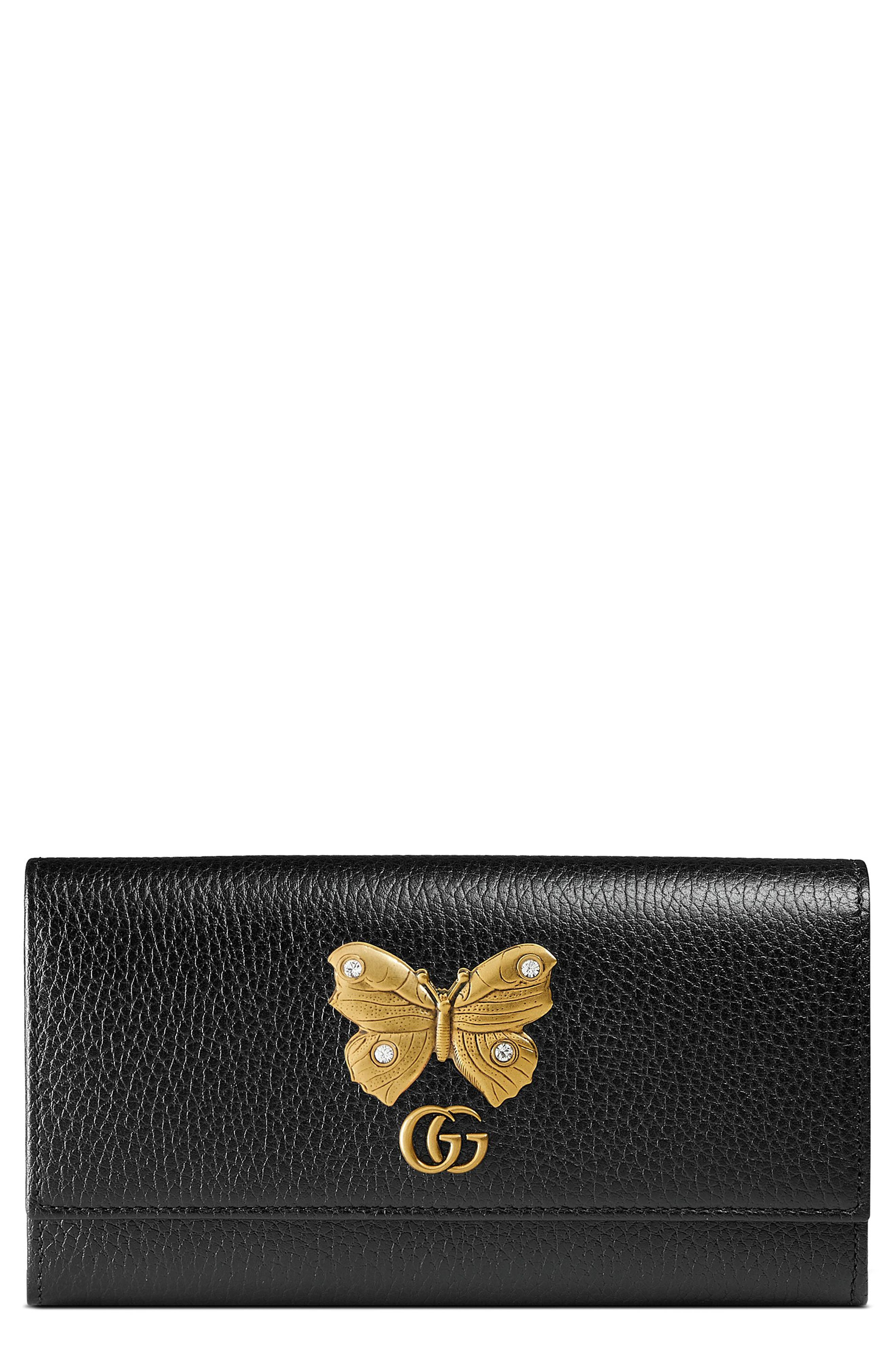 Farfalla Leather Continental Wallet,                         Main,                         color, Nero/ Crystal
