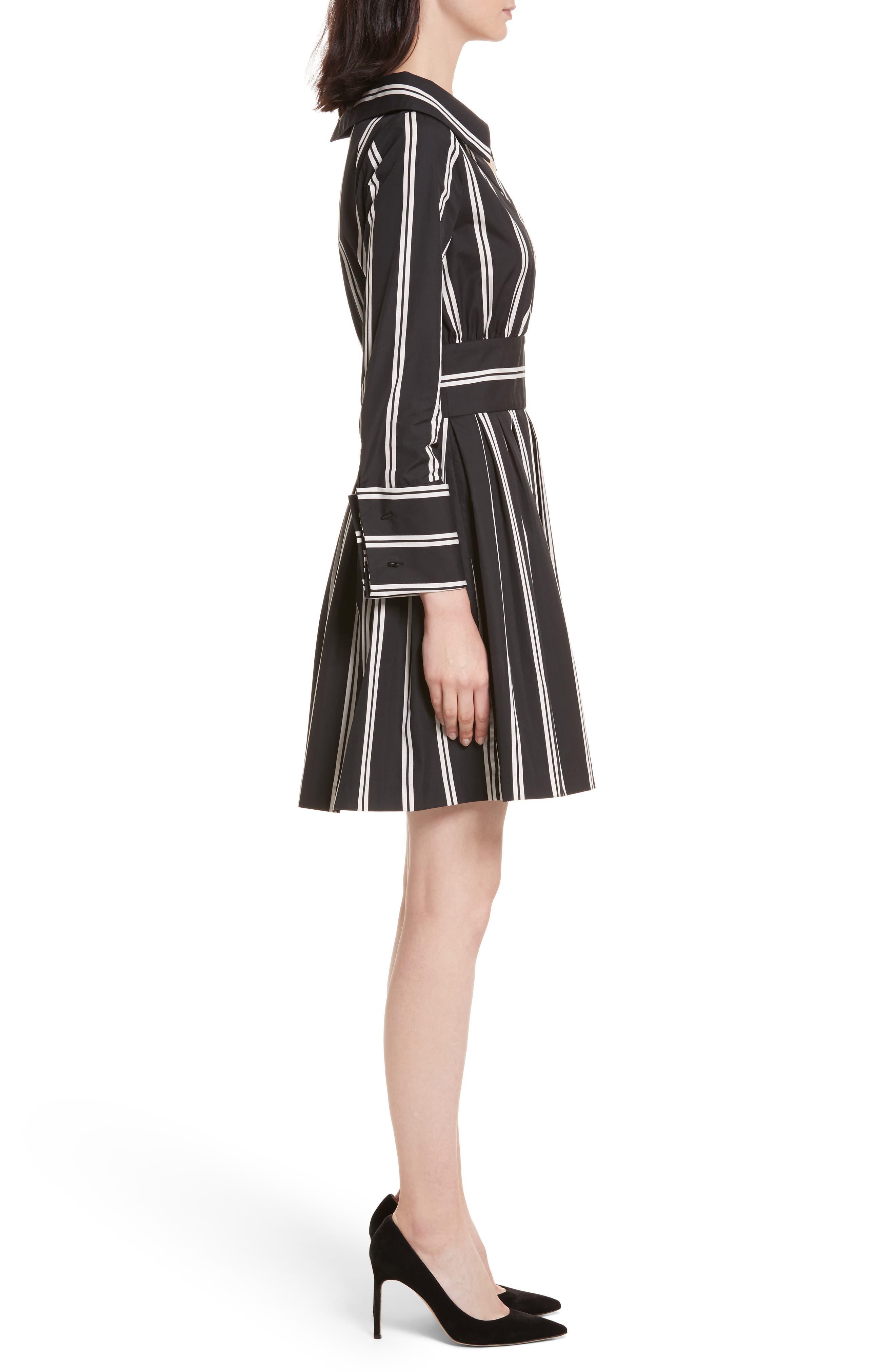Iliana Stripe Fit & Flare Dress,                             Alternate thumbnail 3, color,                             Mod Pinstripe