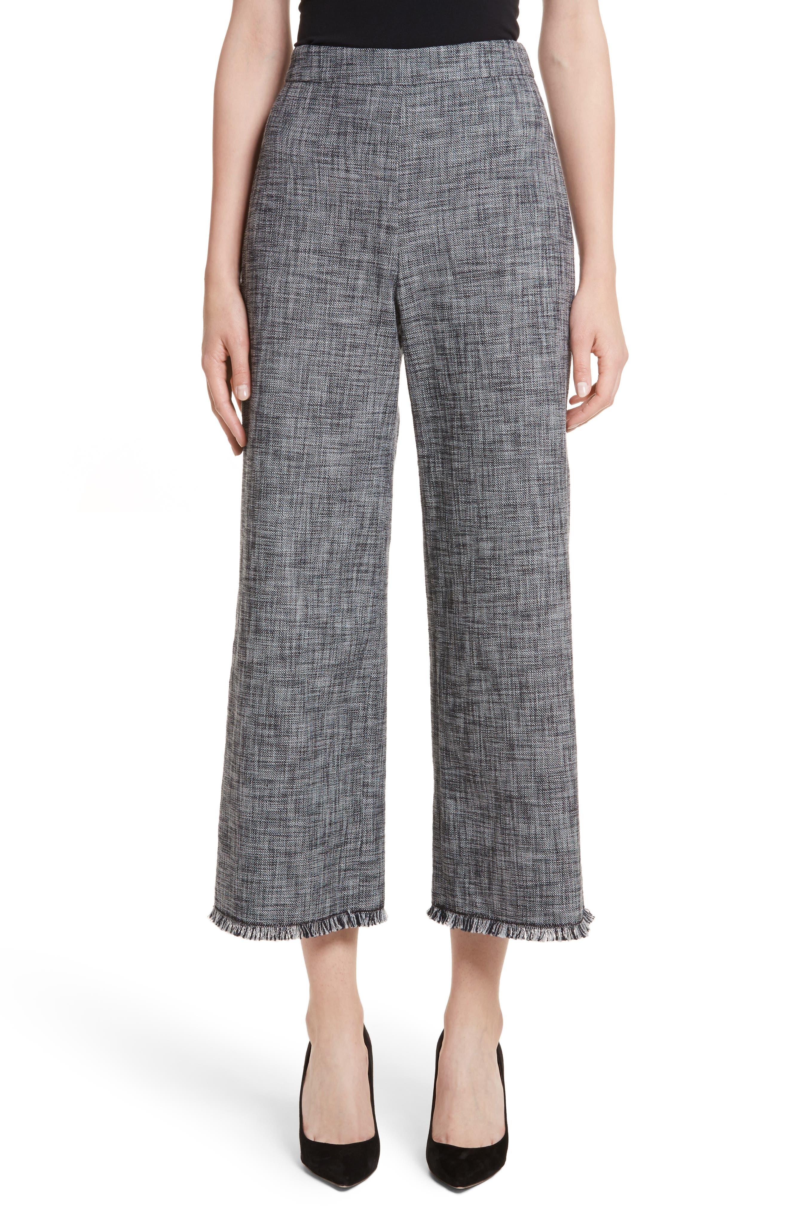 Slub Crop Suit Pants,                         Main,                         color, Grey/ Black Combo