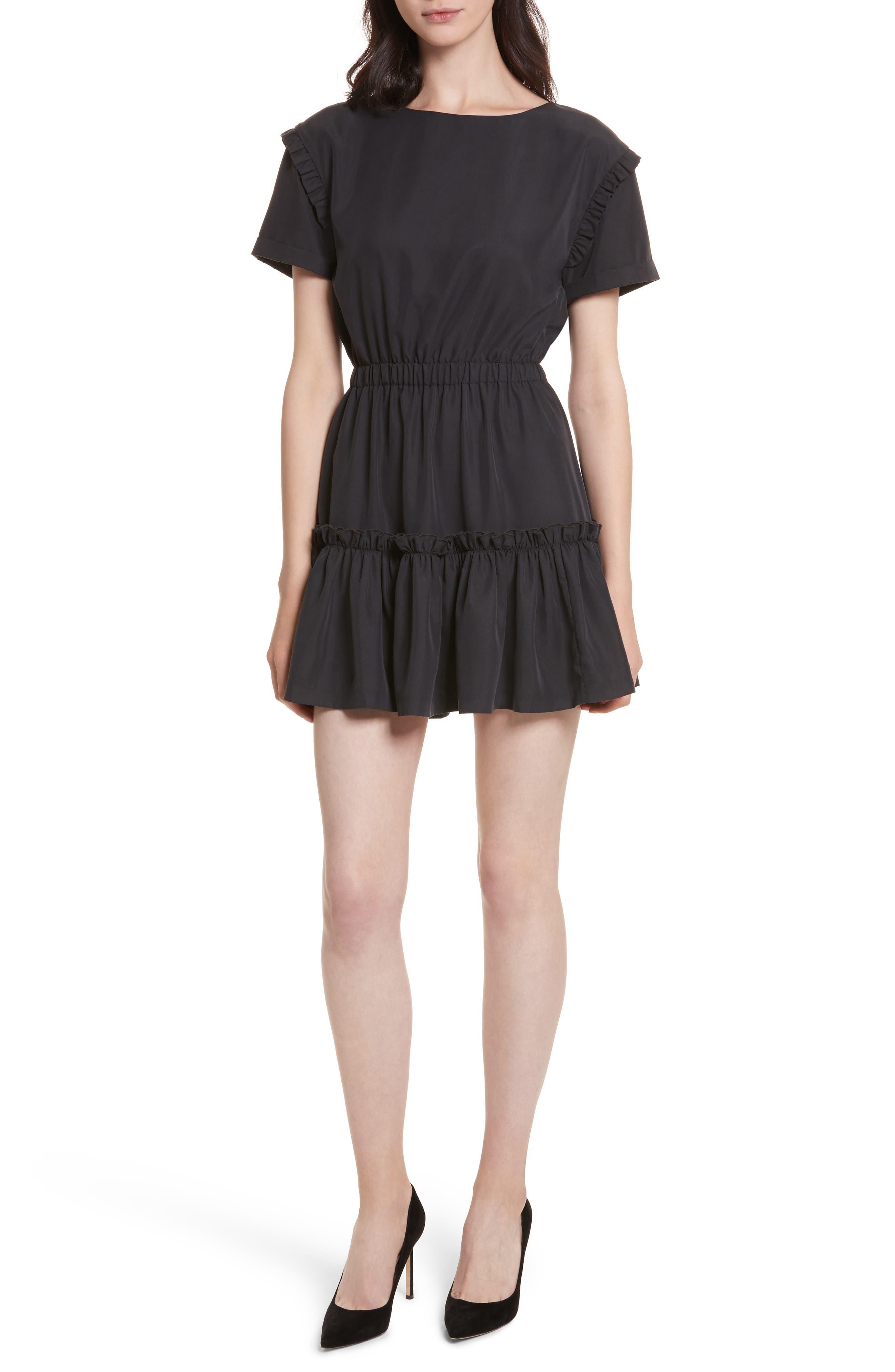Alice + Olivia Garner Drop Shoulder Flounce Dress