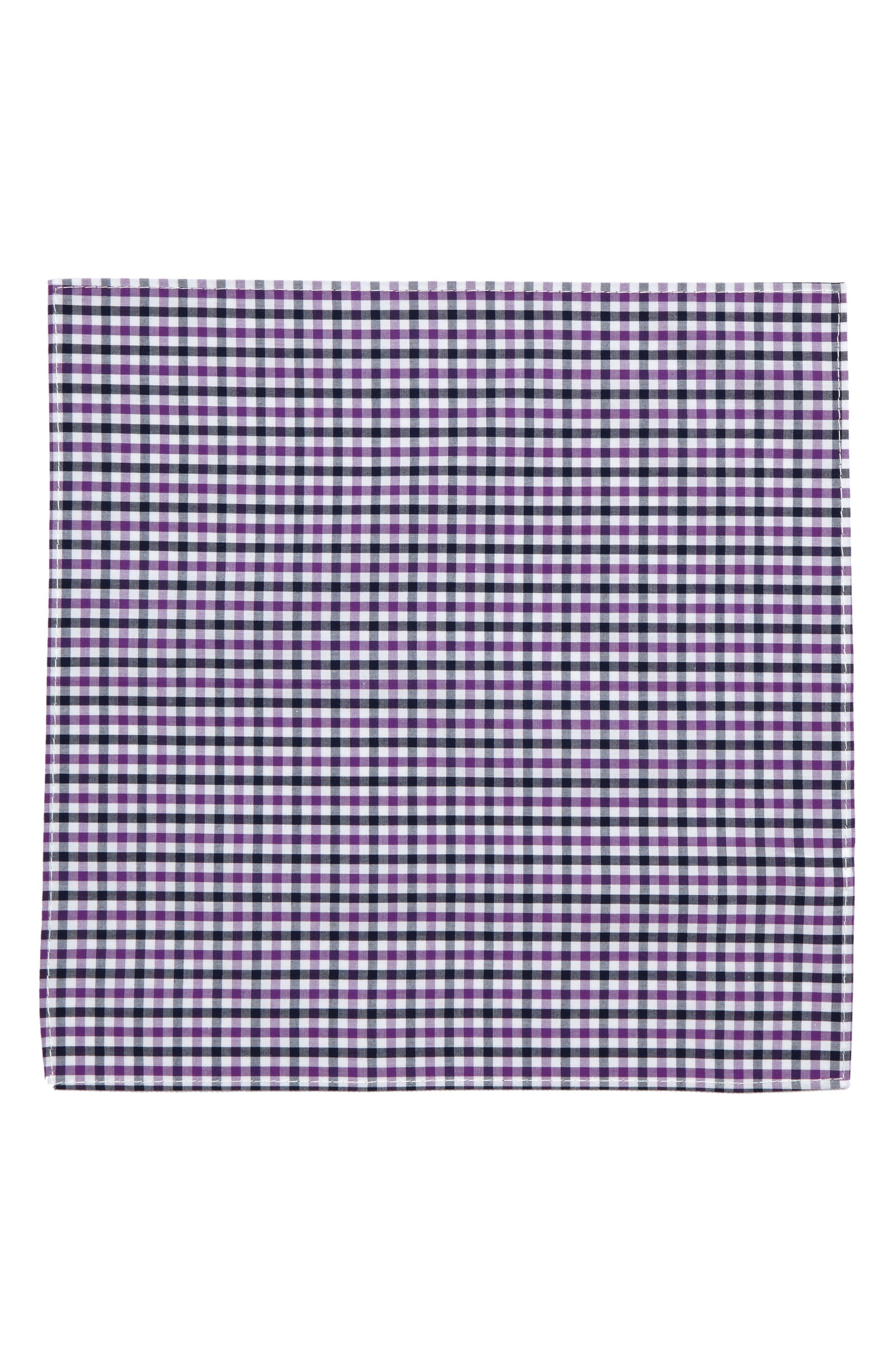Check Silk Pocket Square,                             Alternate thumbnail 2, color,                             Berry