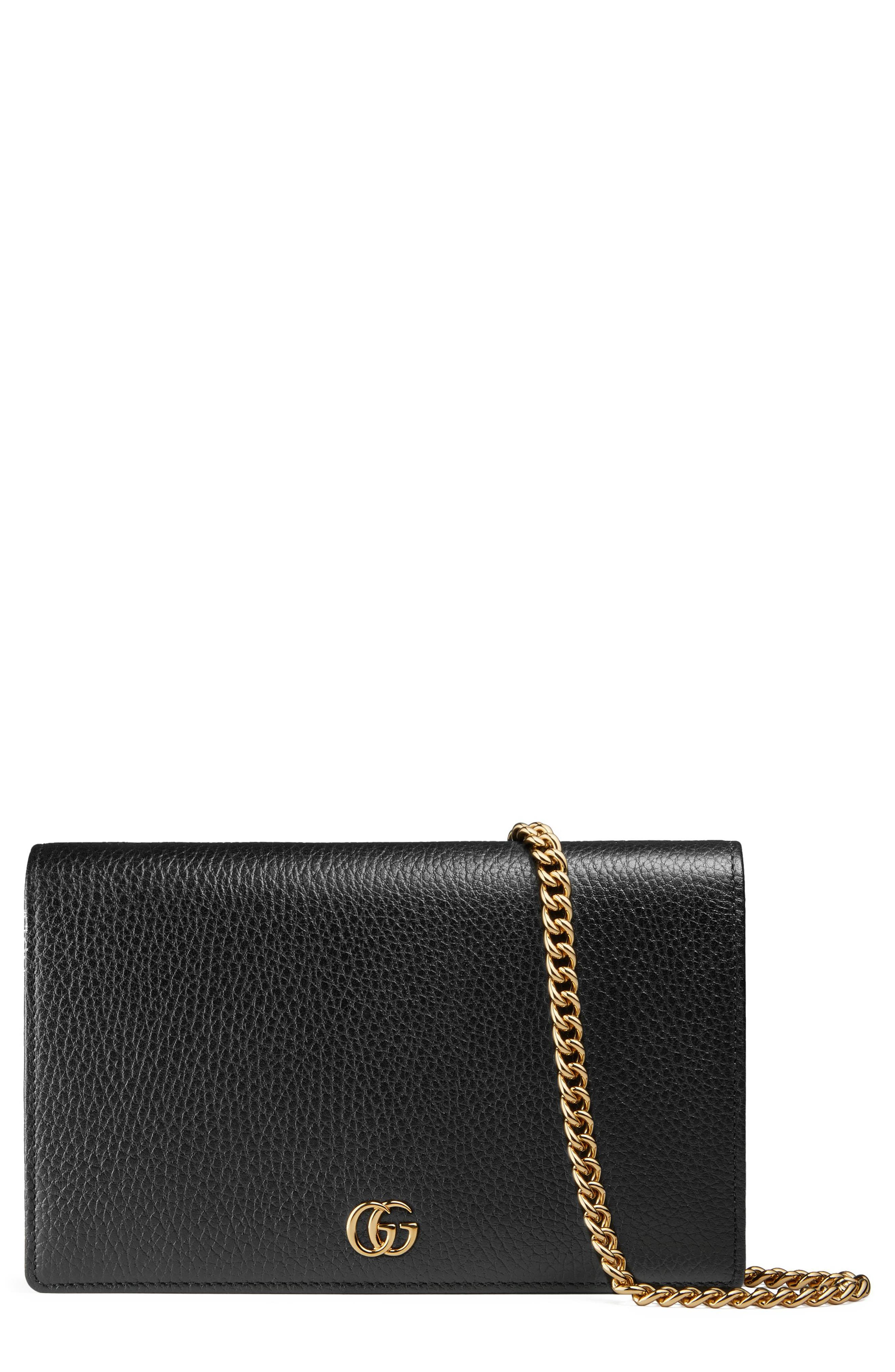 Petite Marmont Leather Wallet on a Chain,                         Main,                         color, Nero