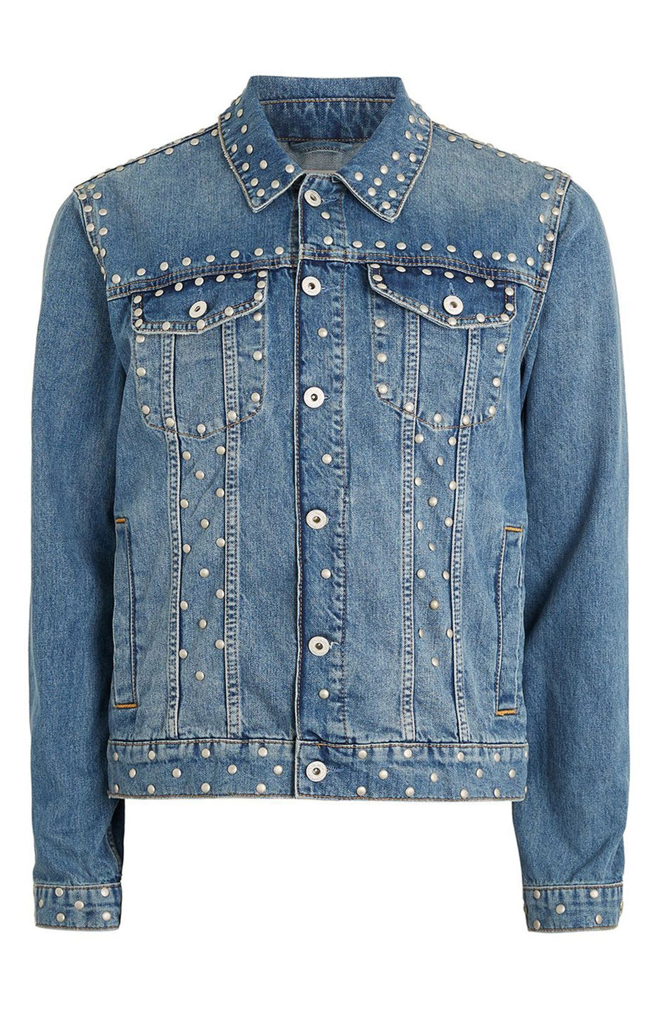 Studded Denim Jacket,                             Alternate thumbnail 5, color,                             Light Blue