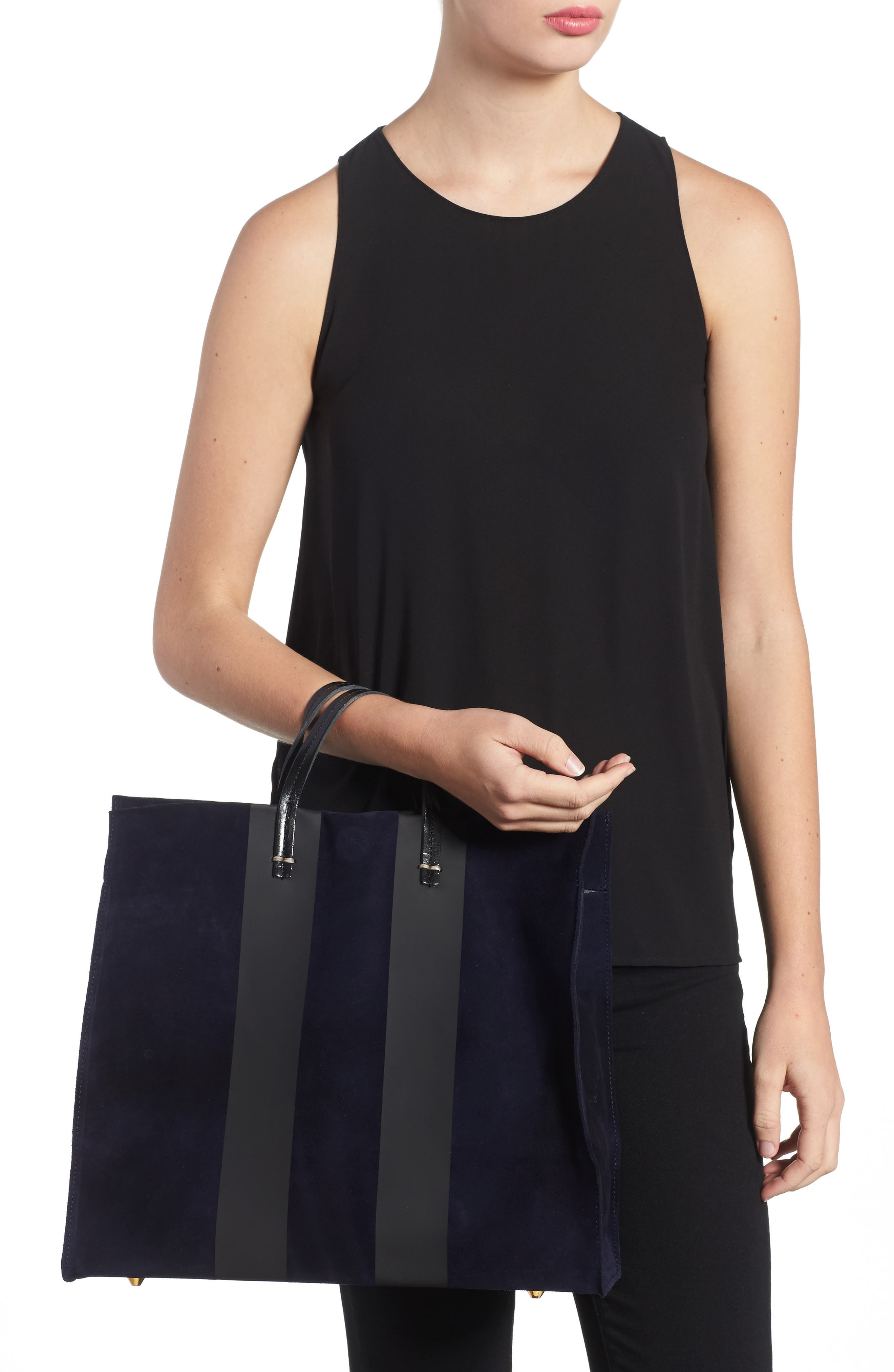 Simple Leather Tote,                             Alternate thumbnail 2, color,                             Navy Suede