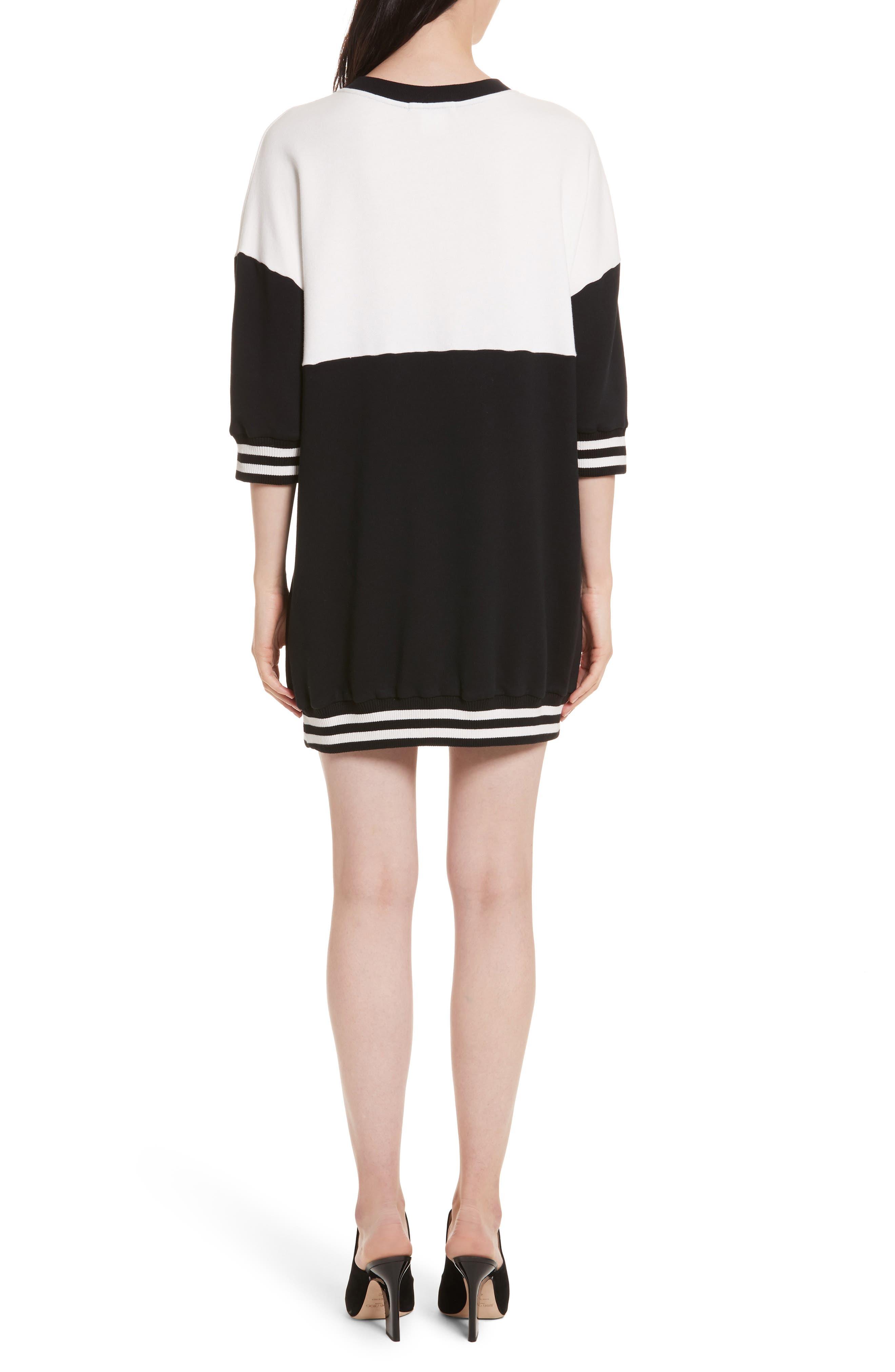 Gussie Colorblock Sweatshirt Dress,                             Alternate thumbnail 2, color,                             Black/ Off White