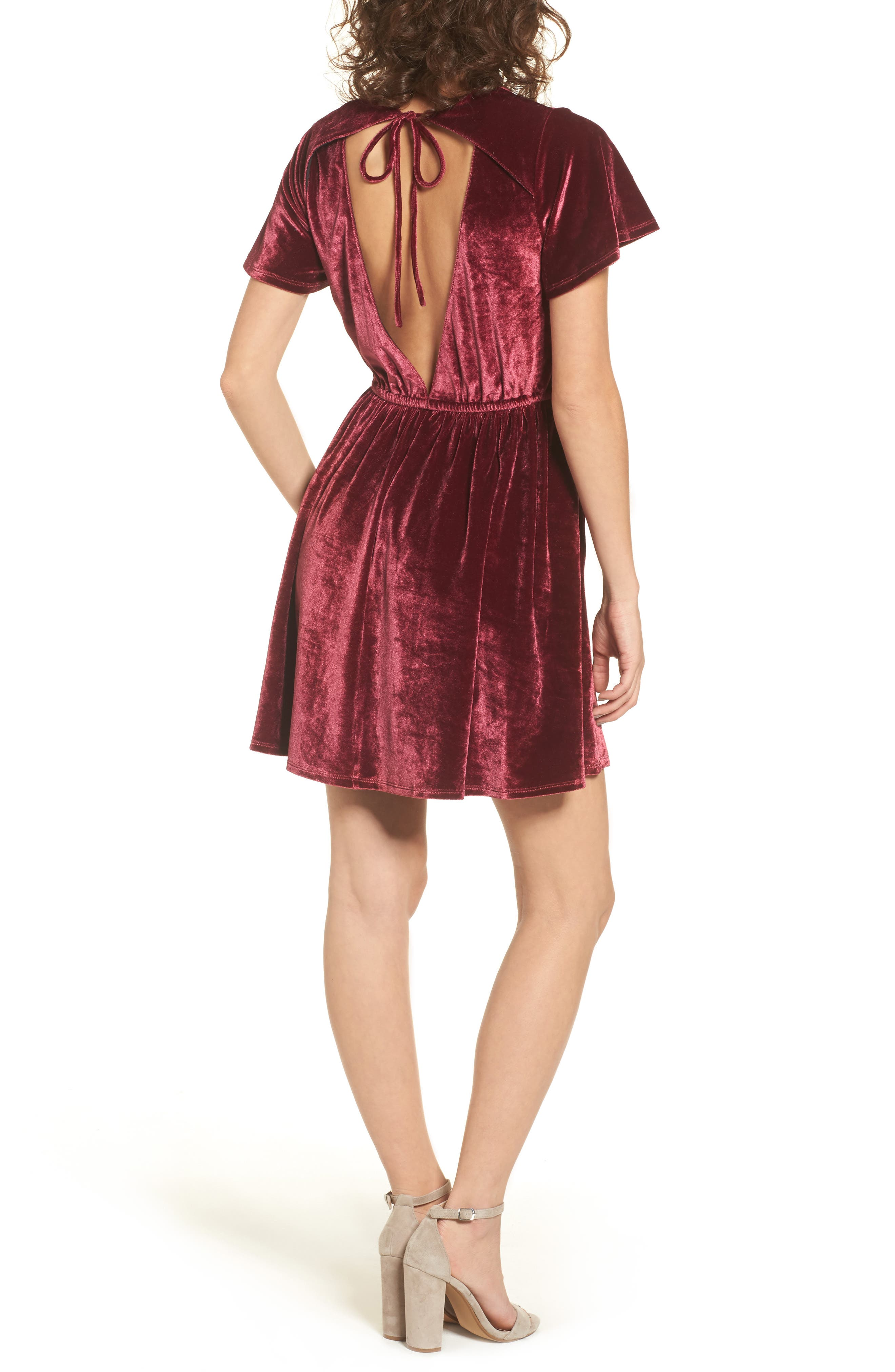 Velvacious Dress,                             Alternate thumbnail 3, color,                             Burgundy