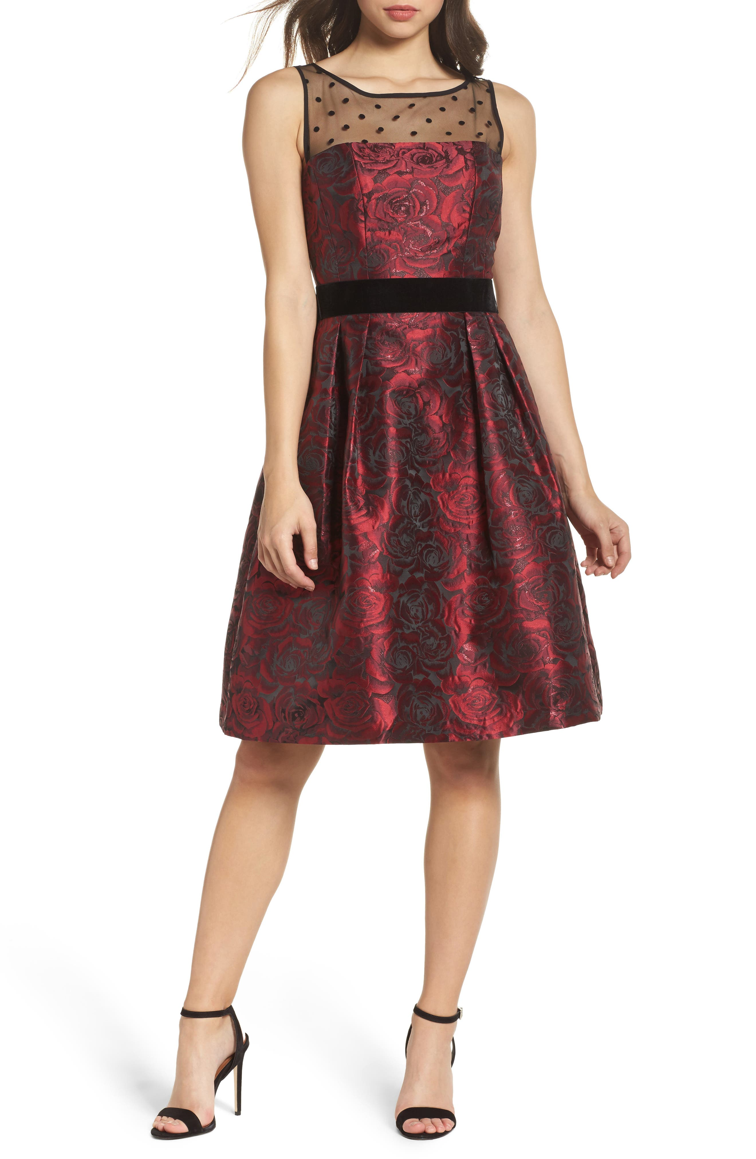 Jacquard Fit & Flare Dress,                         Main,                         color, Black/ Red