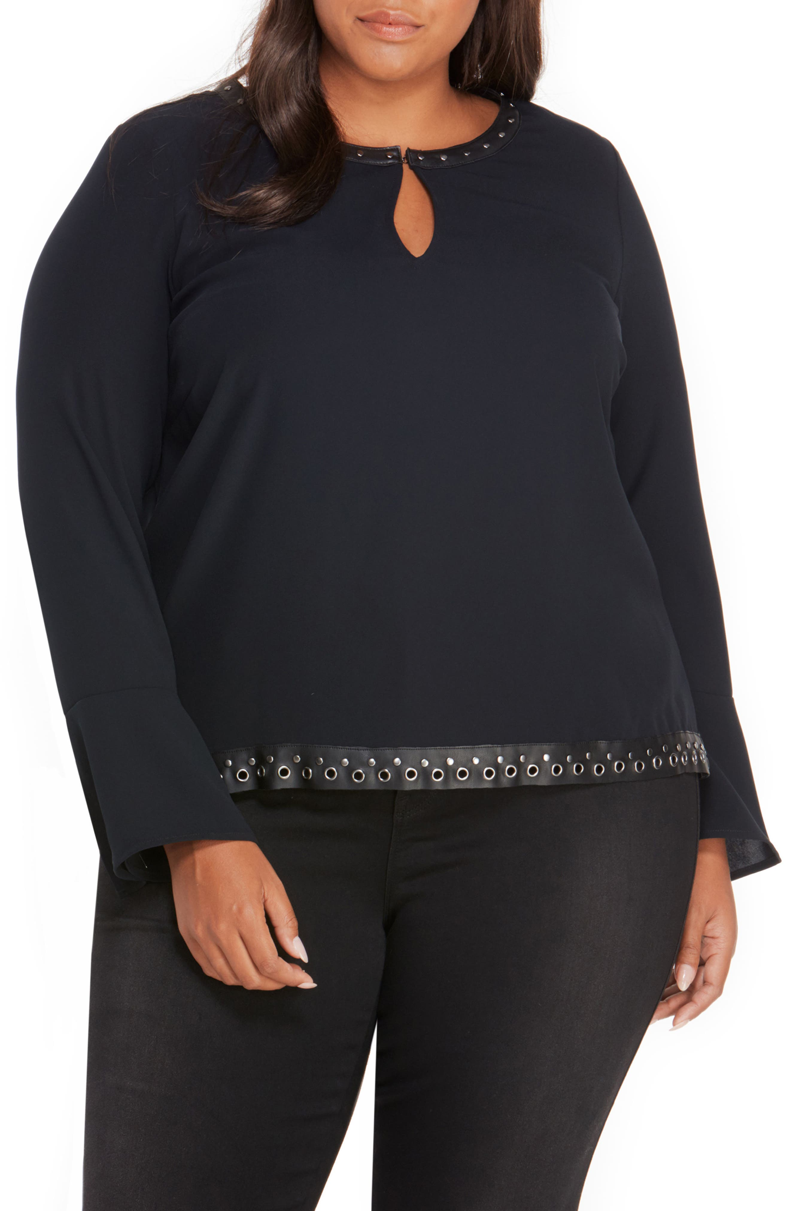 Main Image - Rebel Wilson x Angels Studded Faux Leather Trim Top (Plus Size)