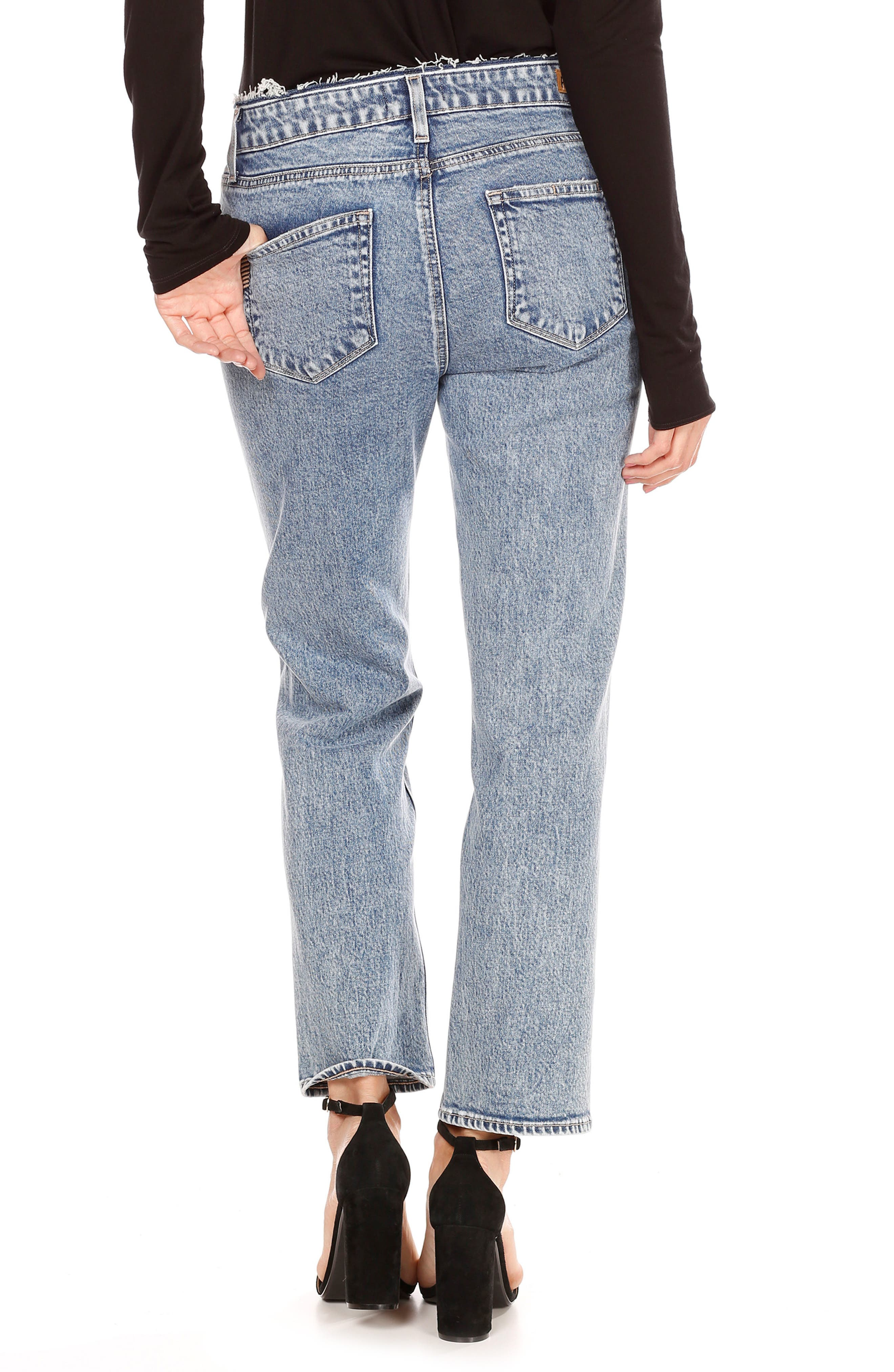 Transcend Vintage - Noella Crop Straight Leg Jeans,                             Alternate thumbnail 3, color,                             Blue