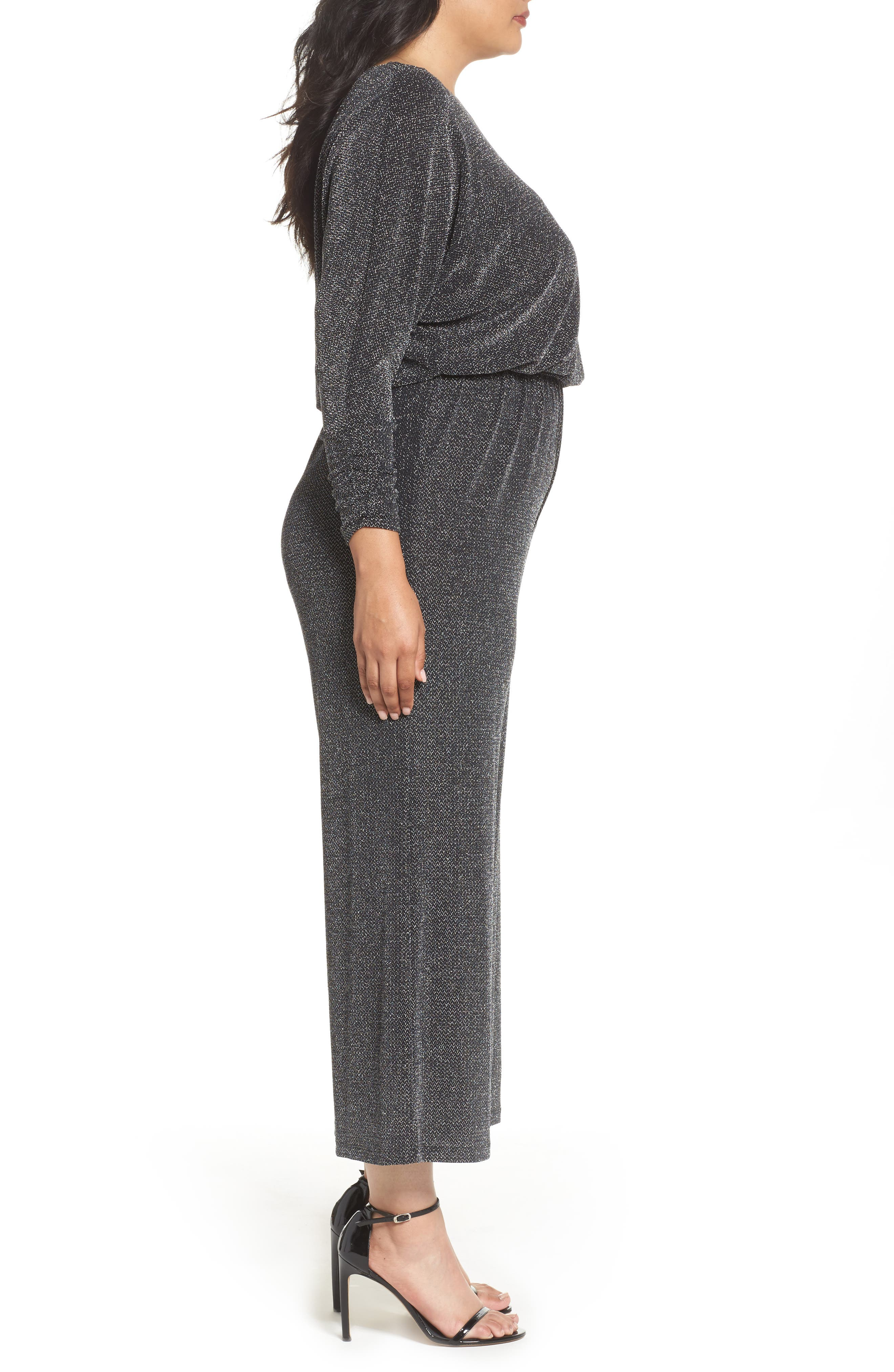 Metallic Knit Jumpsuit,                             Alternate thumbnail 3, color,                             Black/ Silver