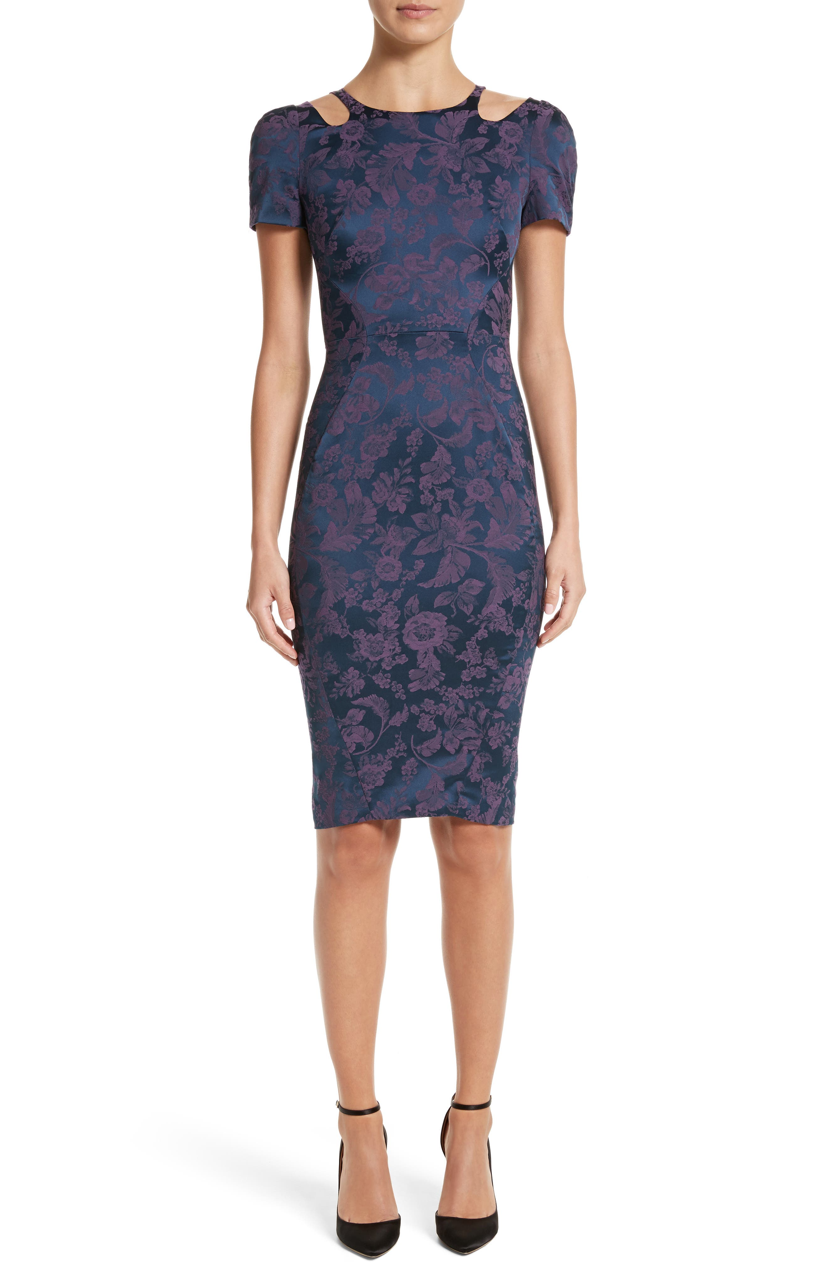 Zac Posen Cutout Jacquard Sheath Dress