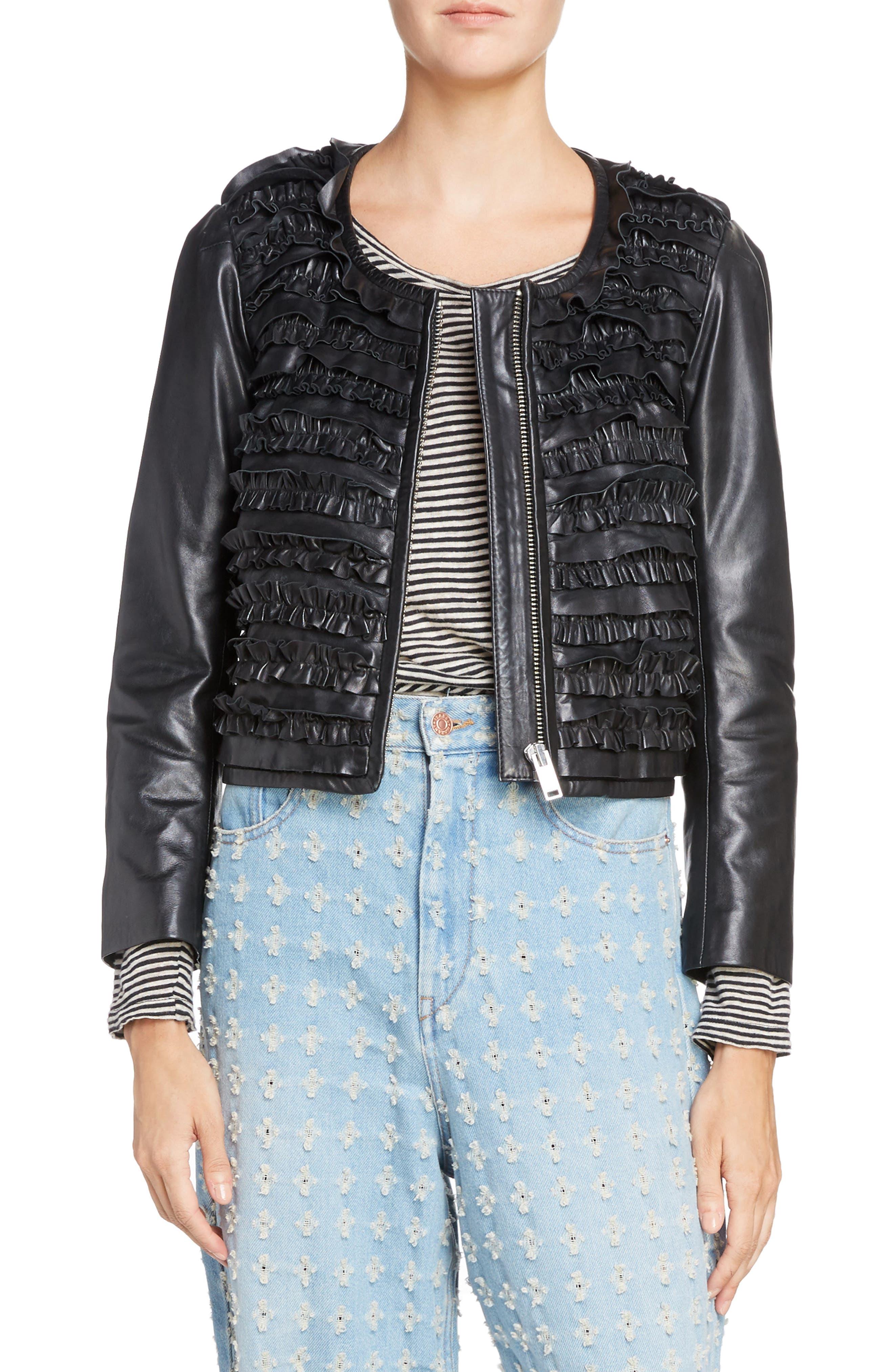 Isabel Marant Étoile Abella Frill Leather Jacket,                         Main,                         color, Black