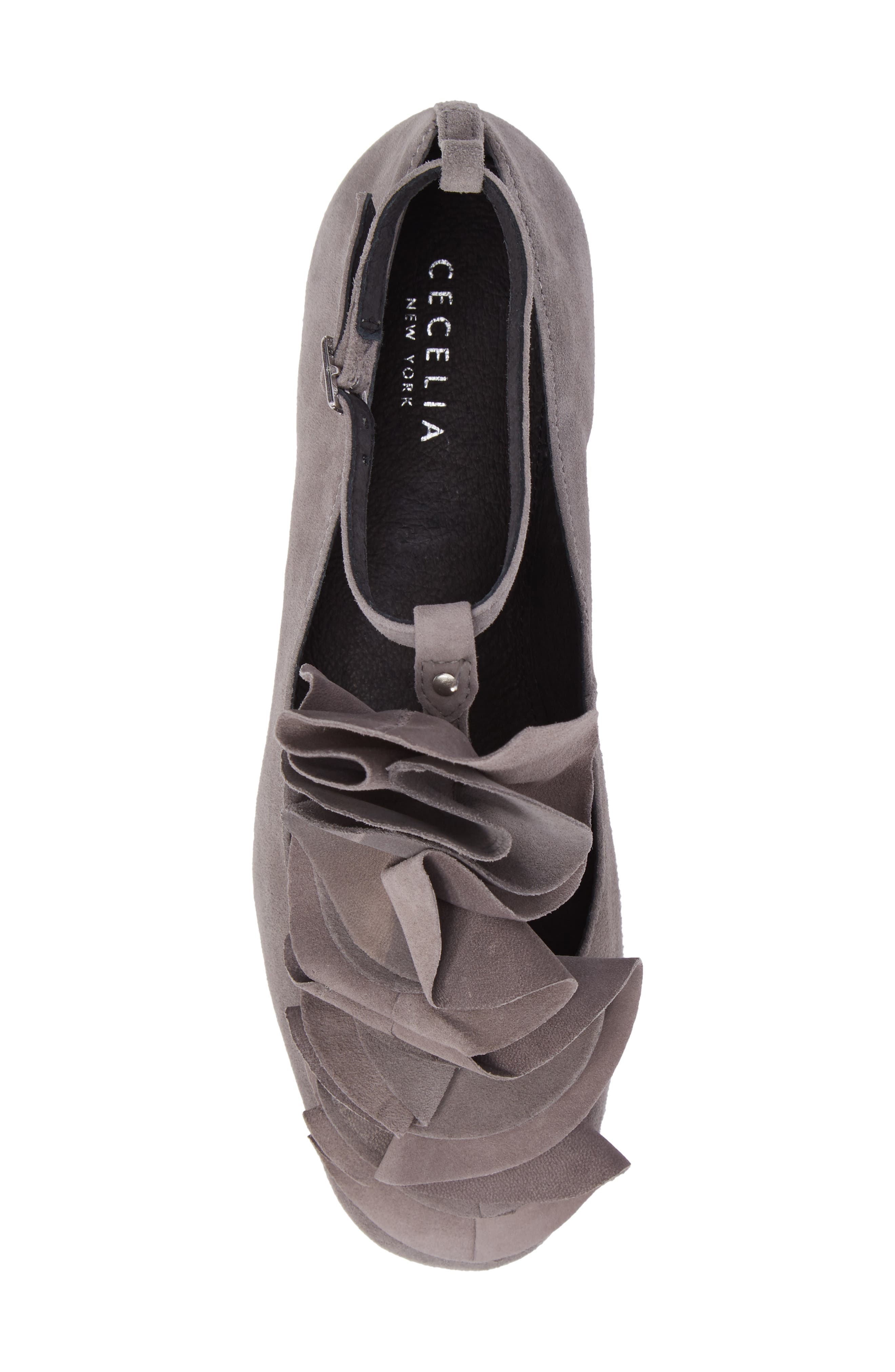 Jenny Ruffle Flat,                             Alternate thumbnail 5, color,                             Gray Suede