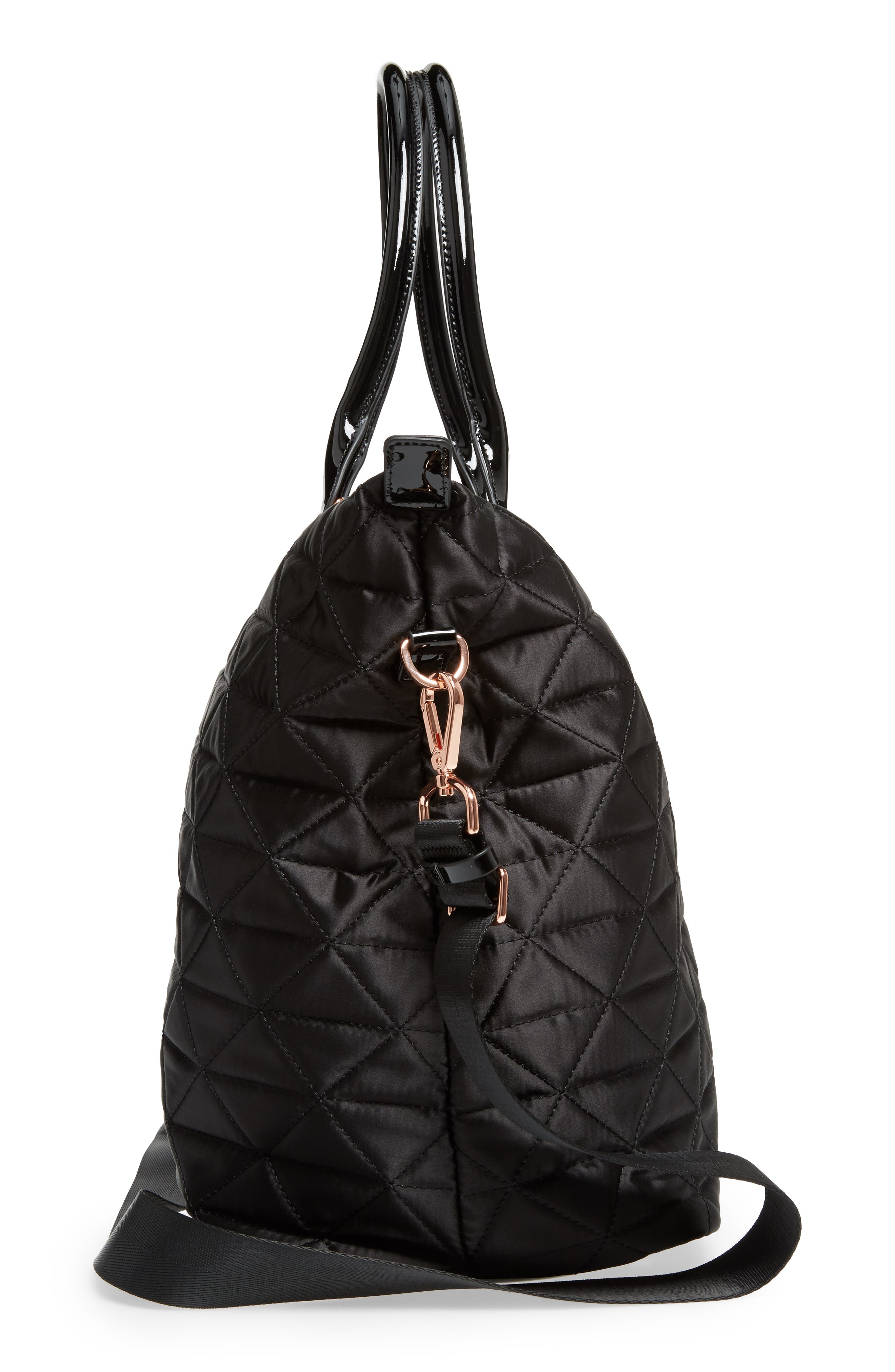 Large Hilksi Quilted Tote,                             Alternate thumbnail 4, color,                             Black