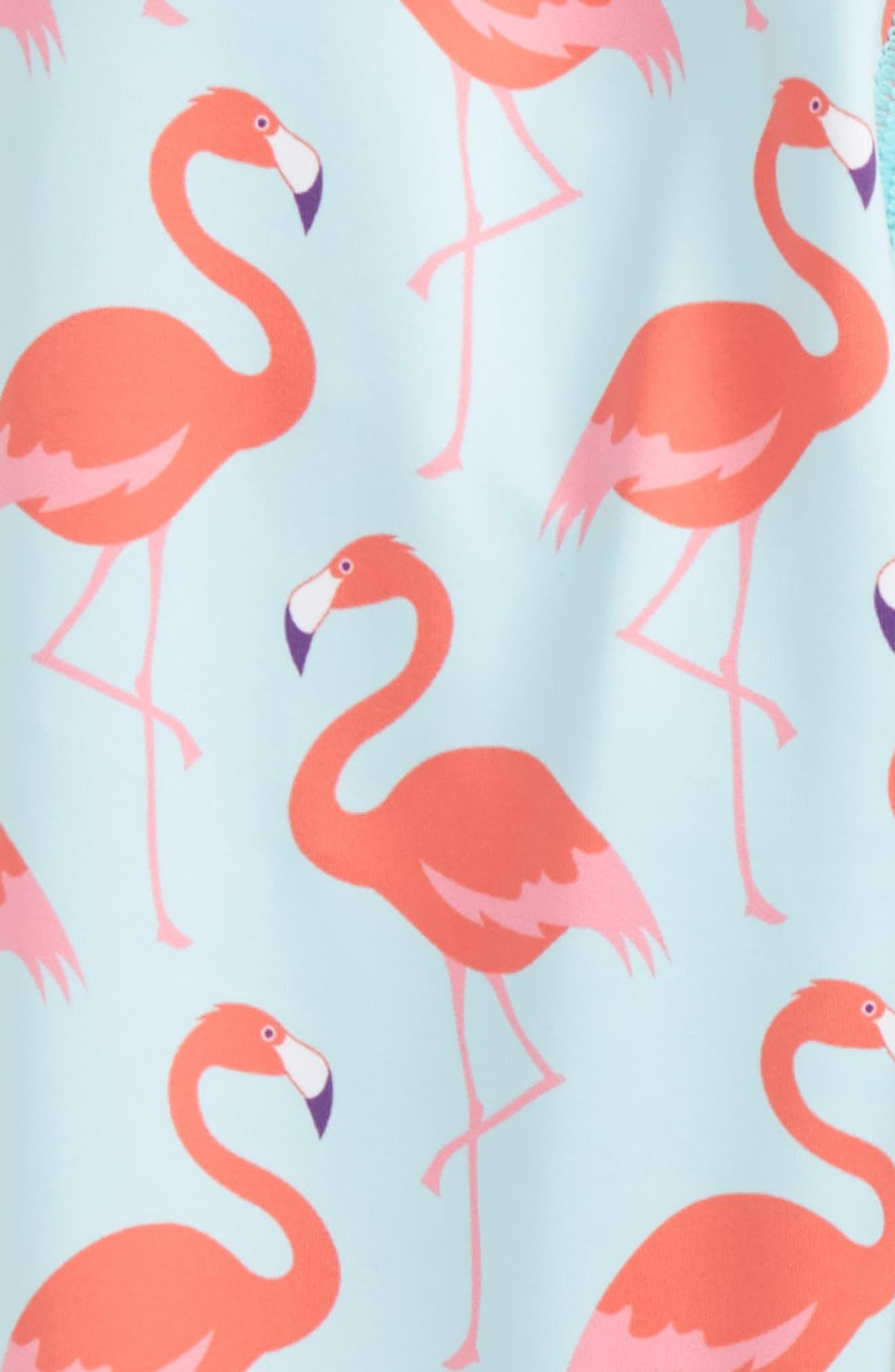 Flamingo Print Leggings,                             Alternate thumbnail 2, color,                             Aqua
