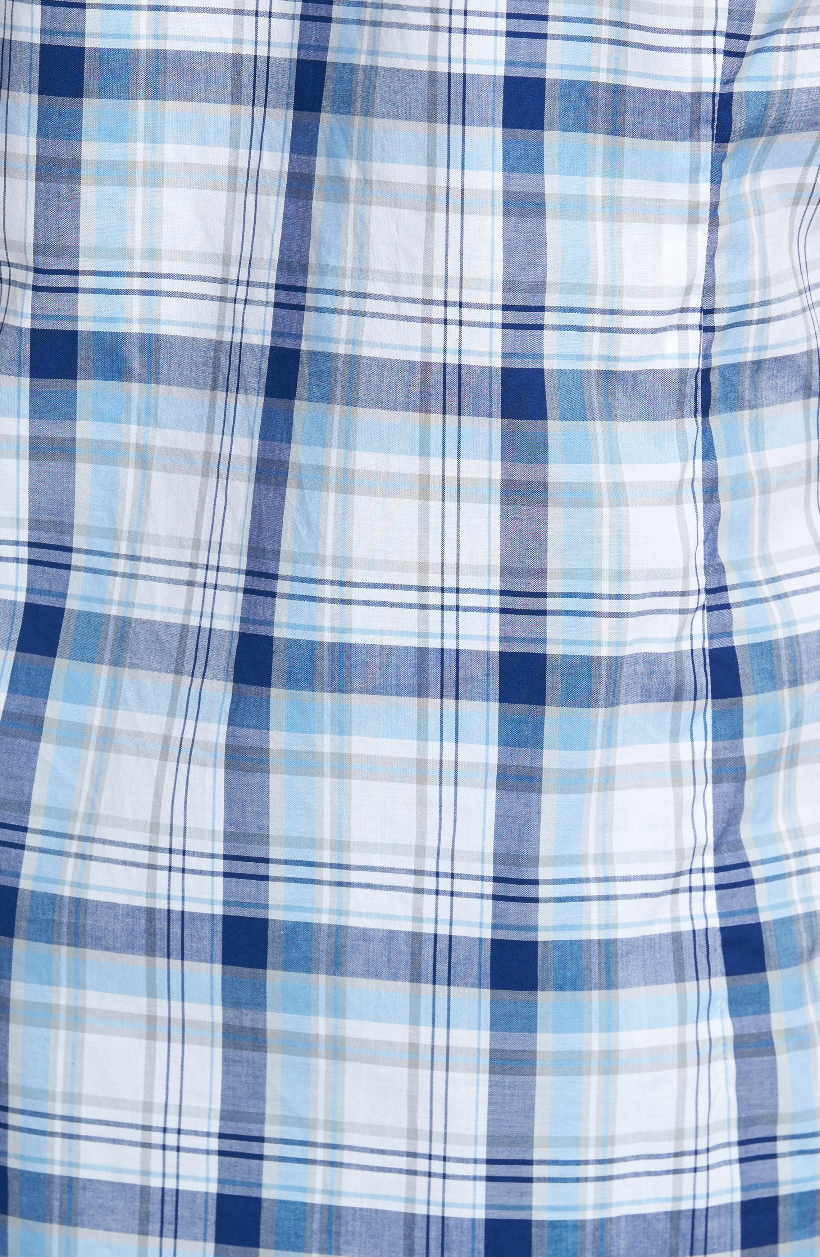 Gerald Tailored Fit Plaid Sport Shirt,                             Alternate thumbnail 5, color,                             Blue