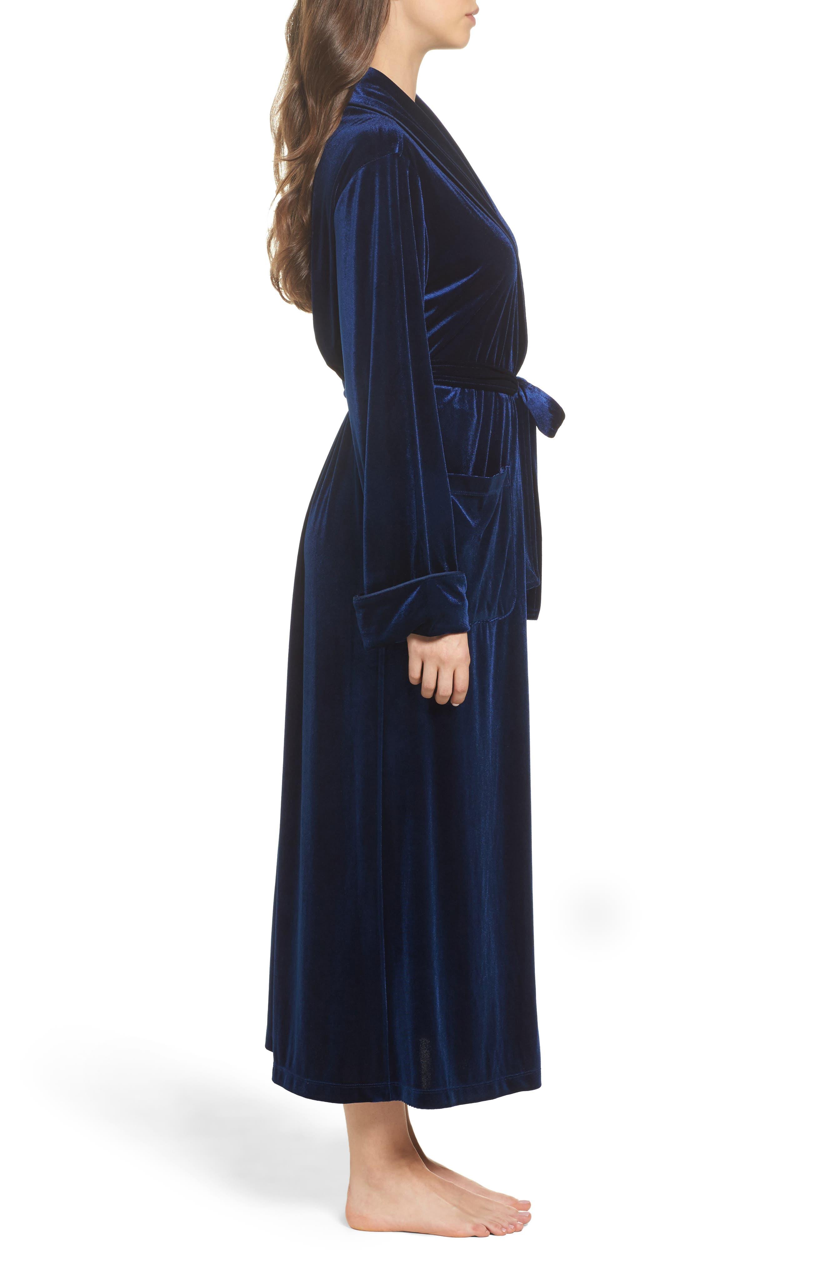 Shawl Collar Velvet Robe,                             Alternate thumbnail 3, color,                             Navy