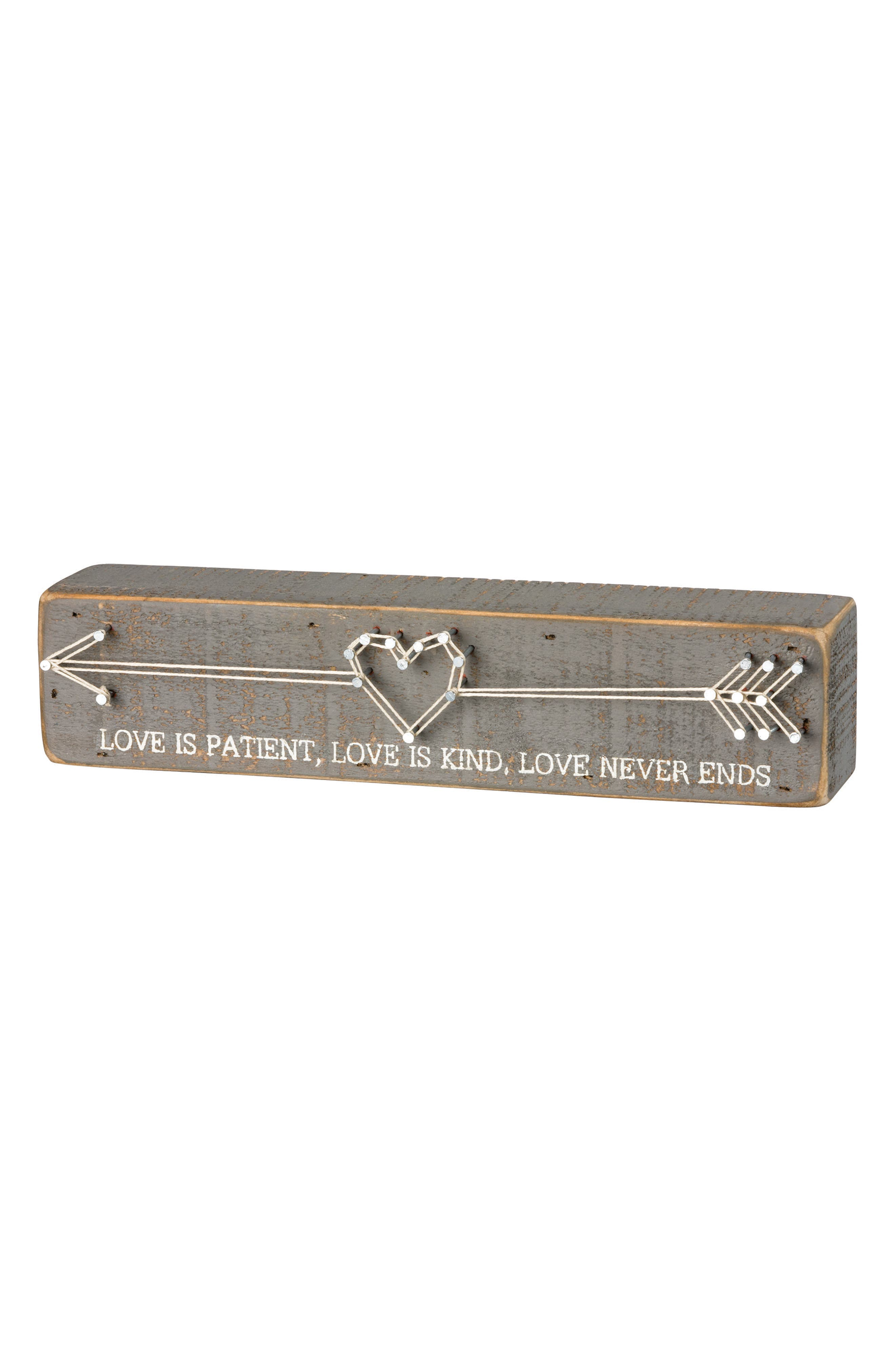 Love is Patient String Art Box Sign,                         Main,                         color, Grey
