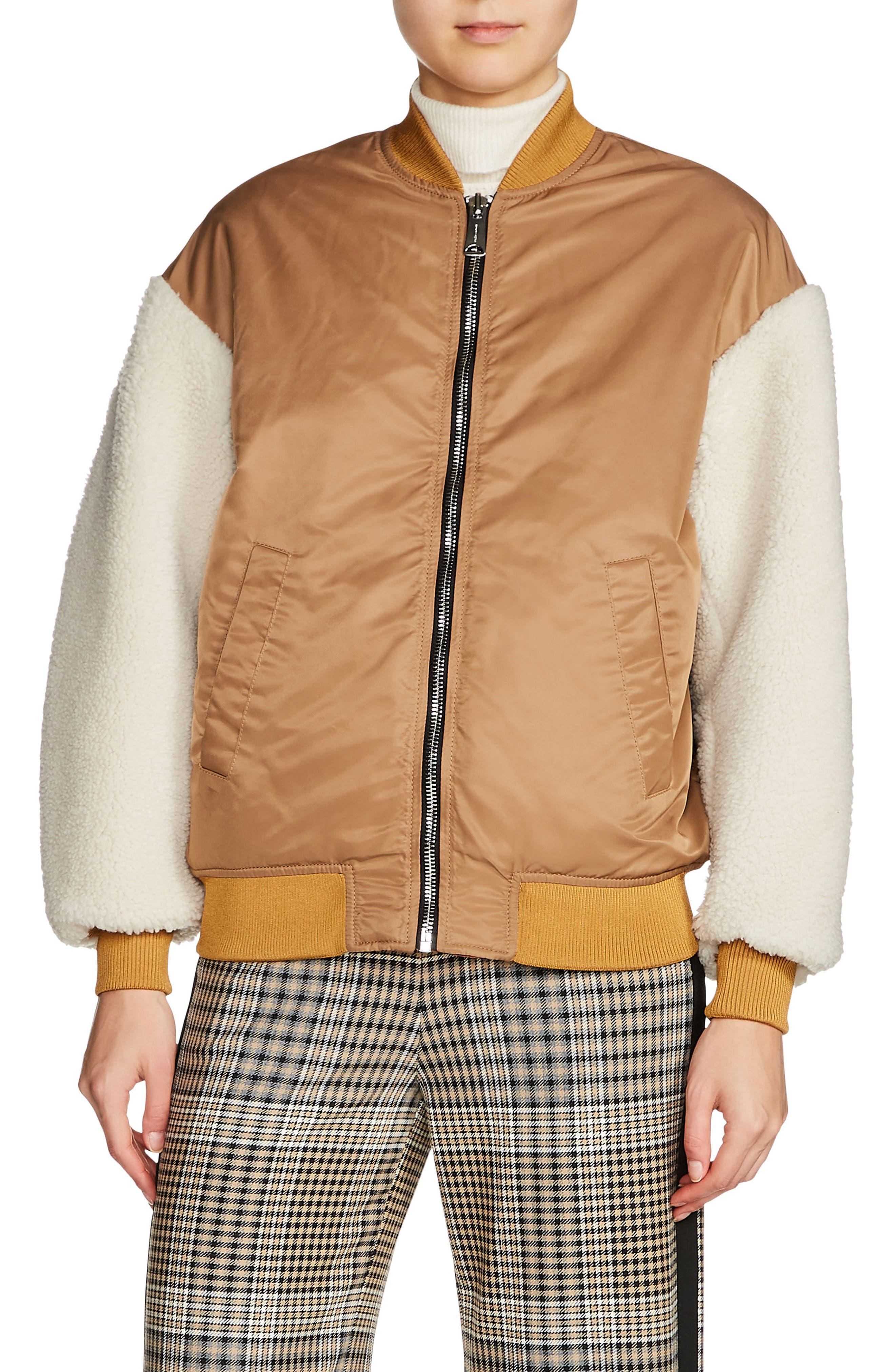 Schott Genuine Shearling Sleeve Bomber Jacket,                         Main,                         color, Caramel