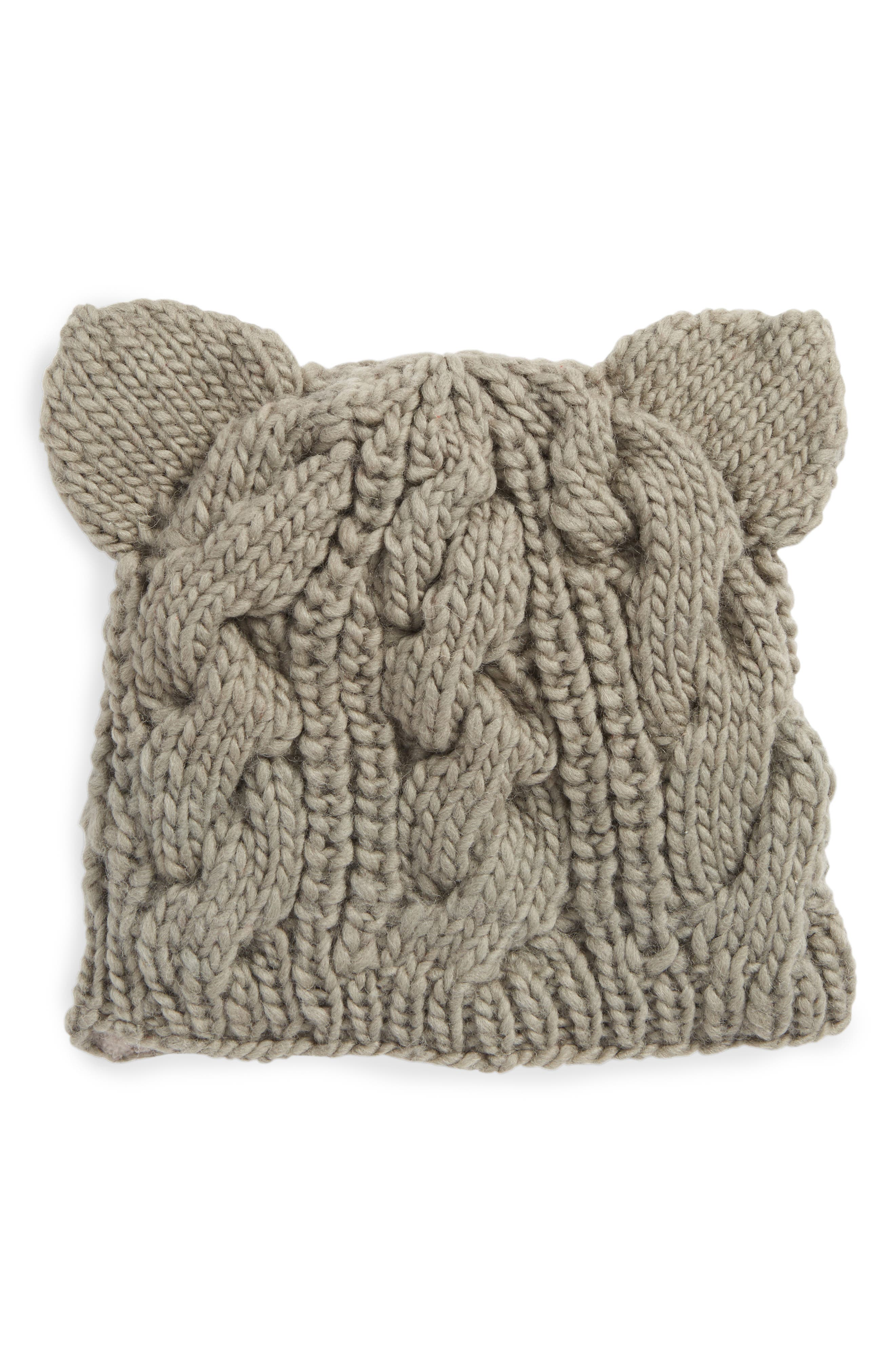 Main Image - Nirvanna Designs Cable Knit Kitty Beanie