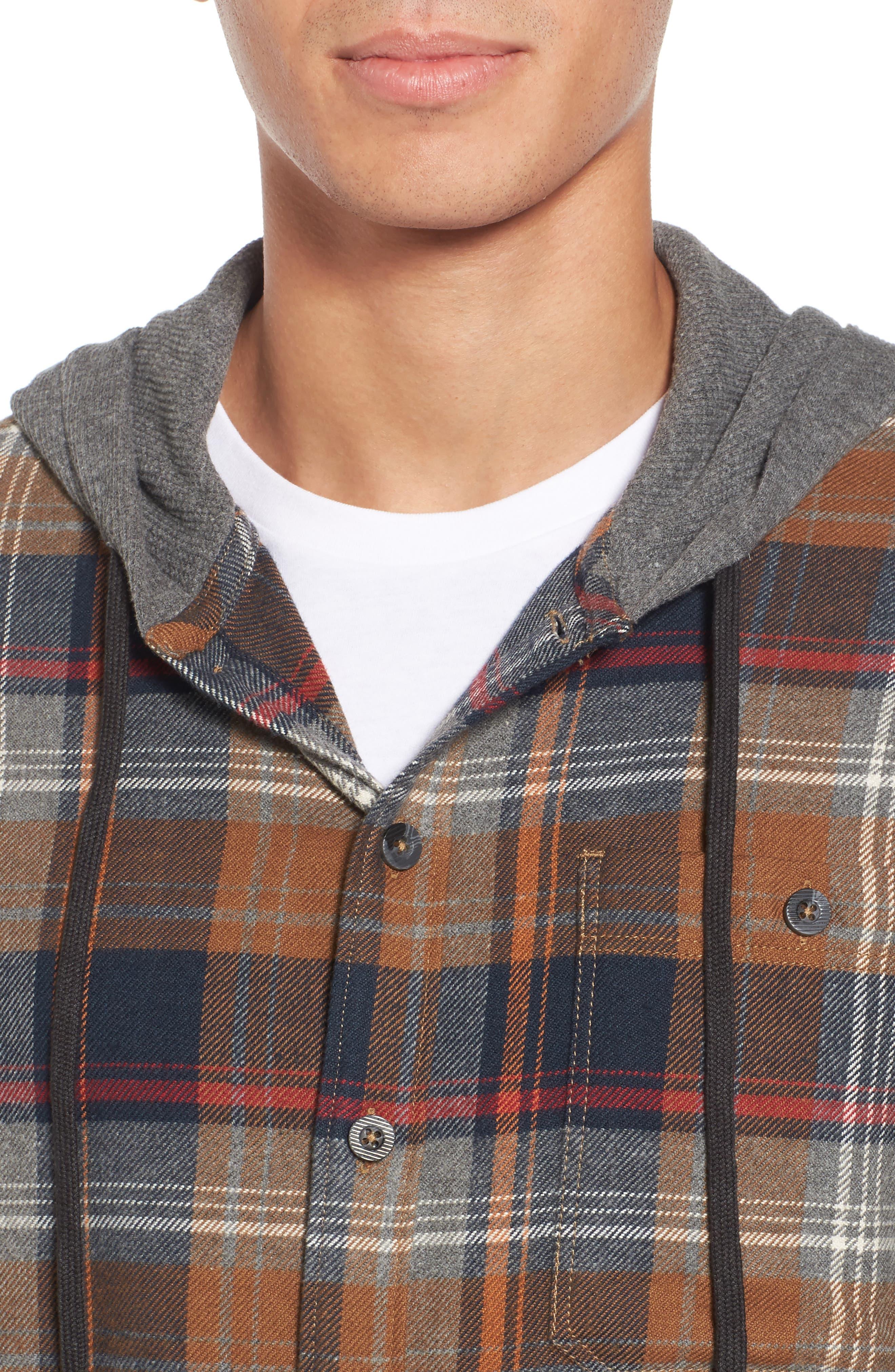 Baja Hooded Flannel Shirt,                             Alternate thumbnail 4, color,                             Tobacco