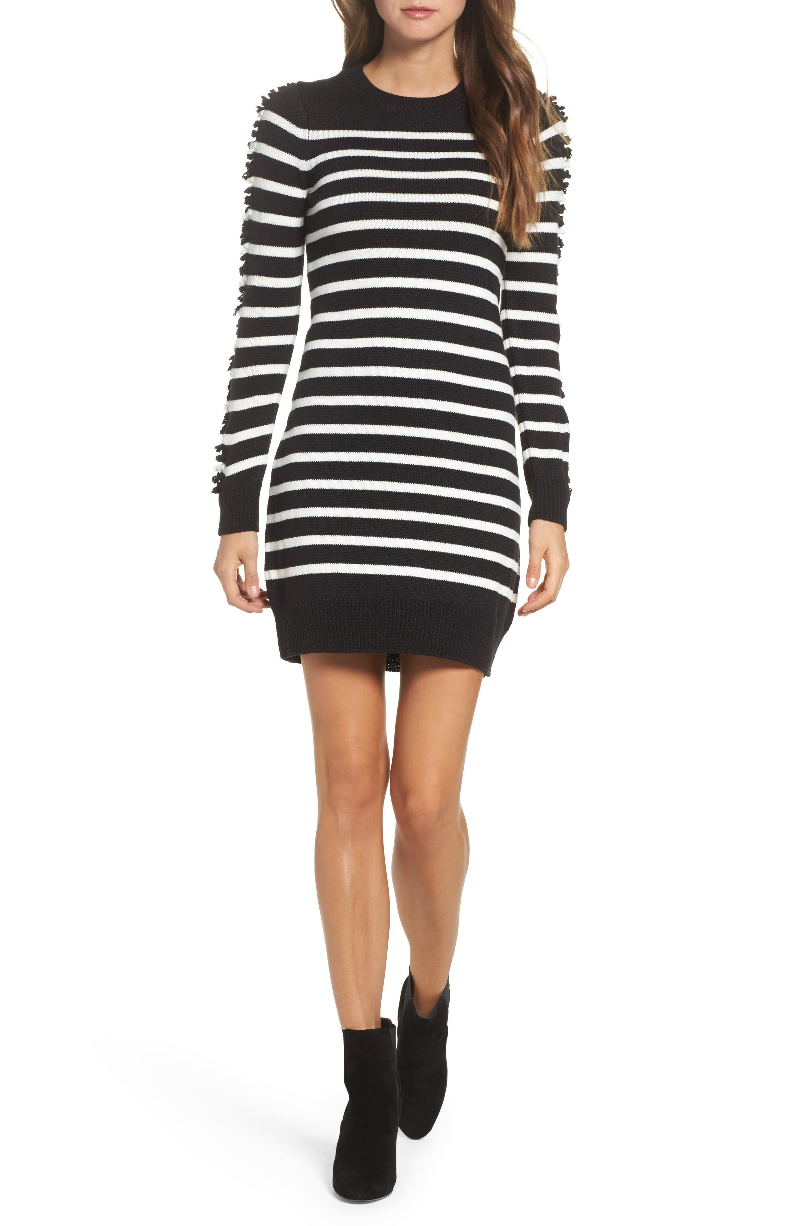 Stripe Sweater Dress,                         Main,                         color, Black/ Ivory