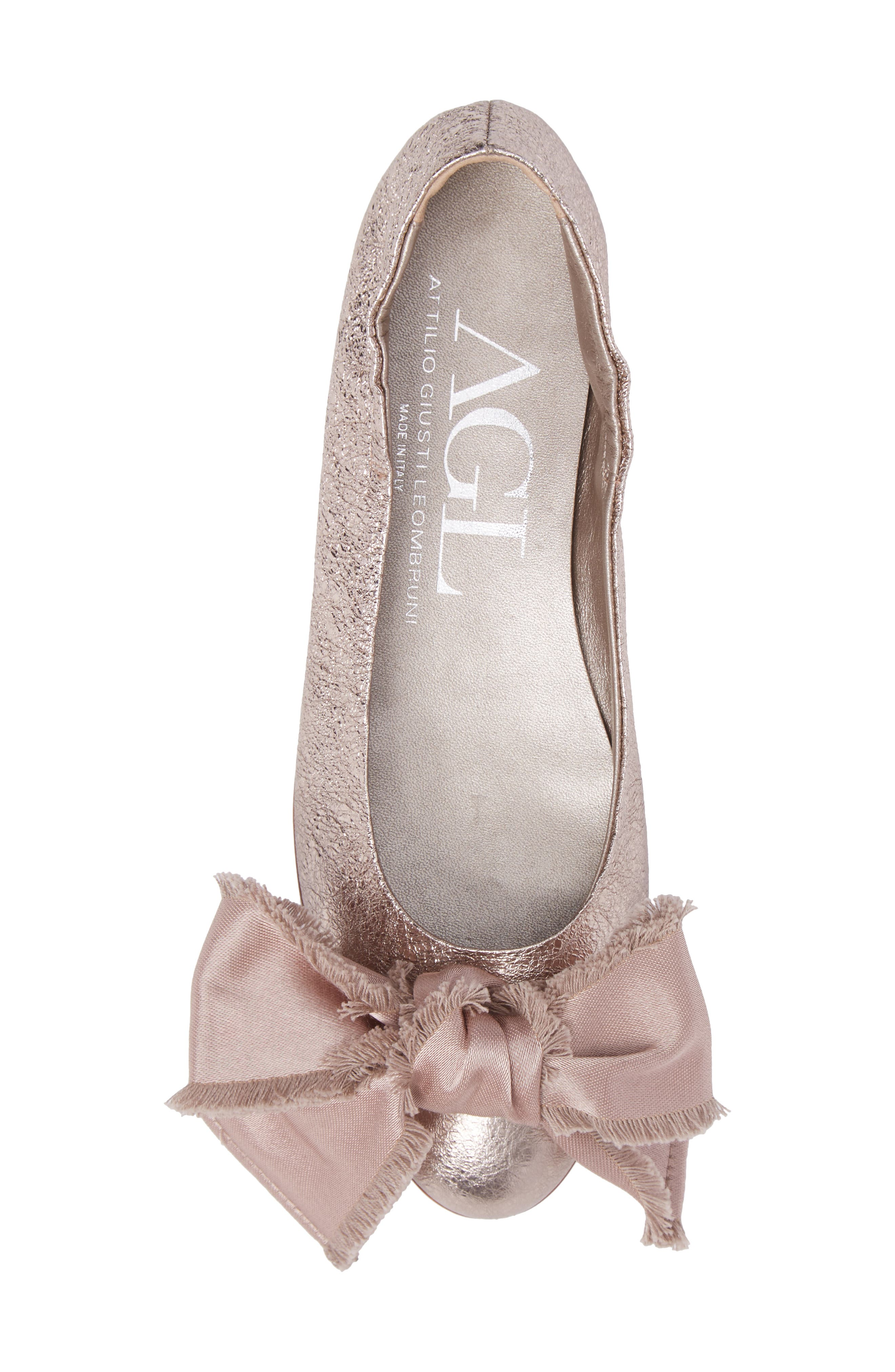 Satin Bow Ballet Flat,                             Alternate thumbnail 4, color,                             Pink Leather