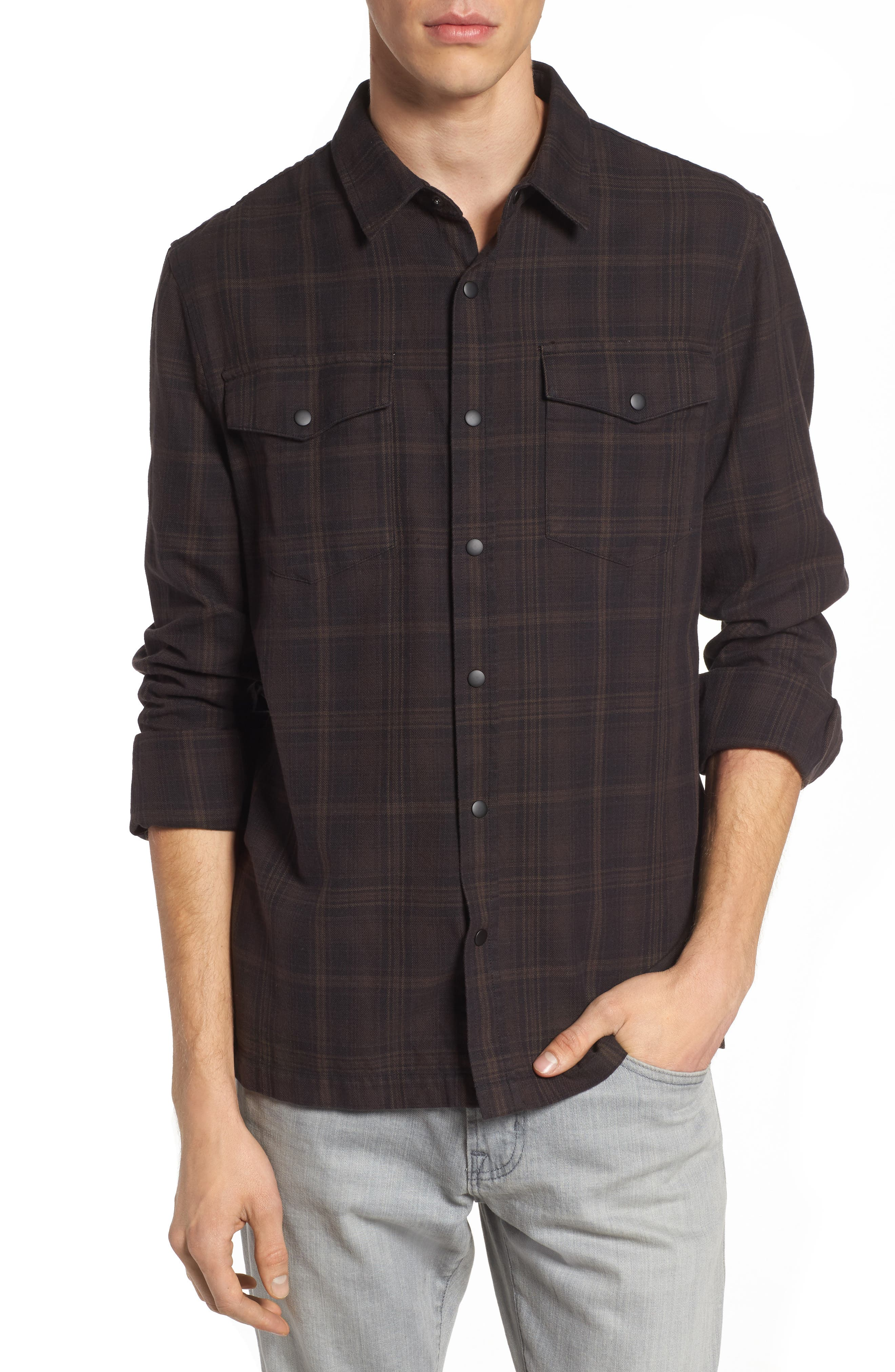 Boone Slim Plaid Overshirt,                             Main thumbnail 1, color,                             Black/ Silica Sand