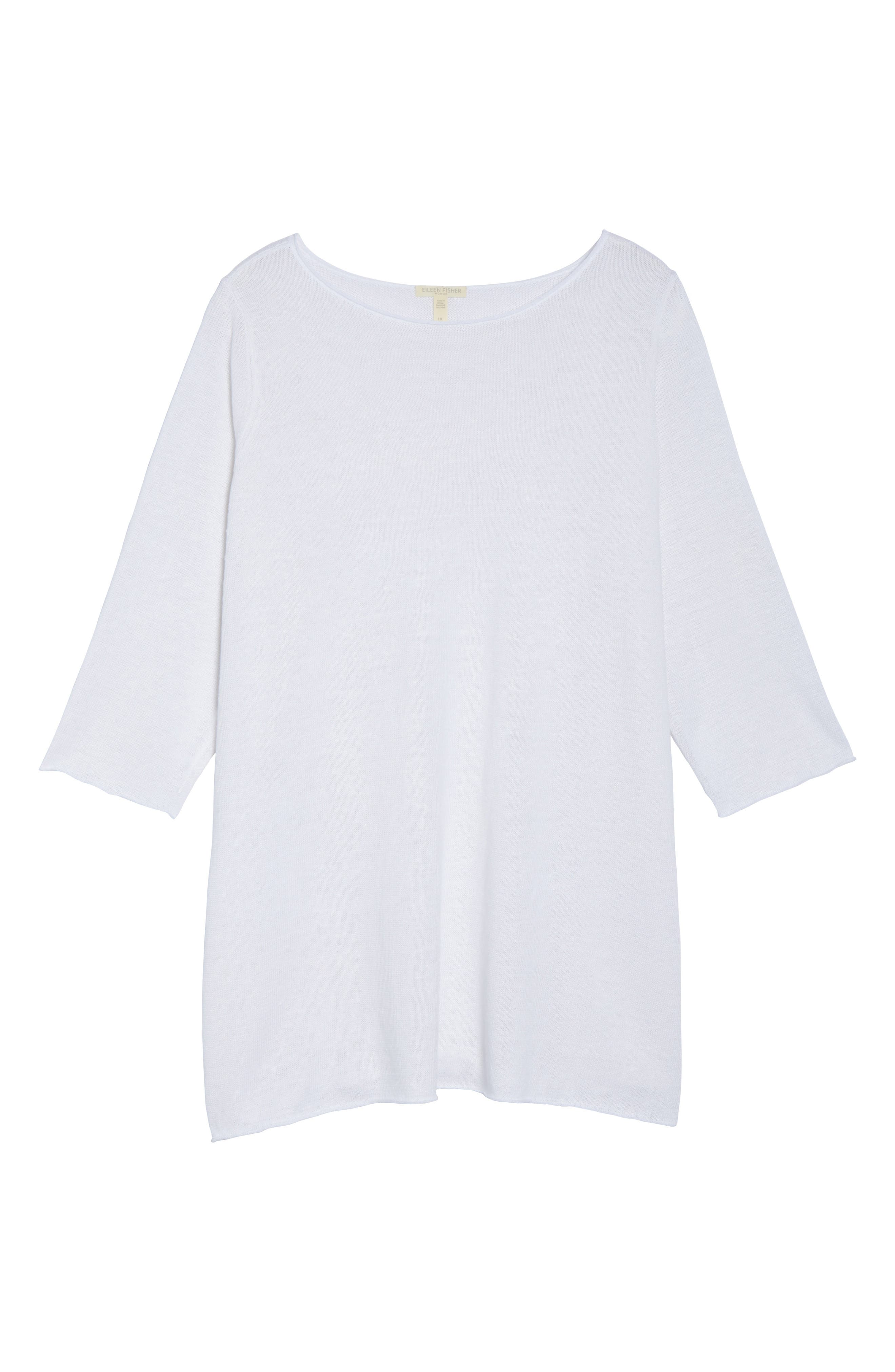 Alternate Image 6  - Eileen Fisher Side Tie Organic Linen Sweater (Plus Size)