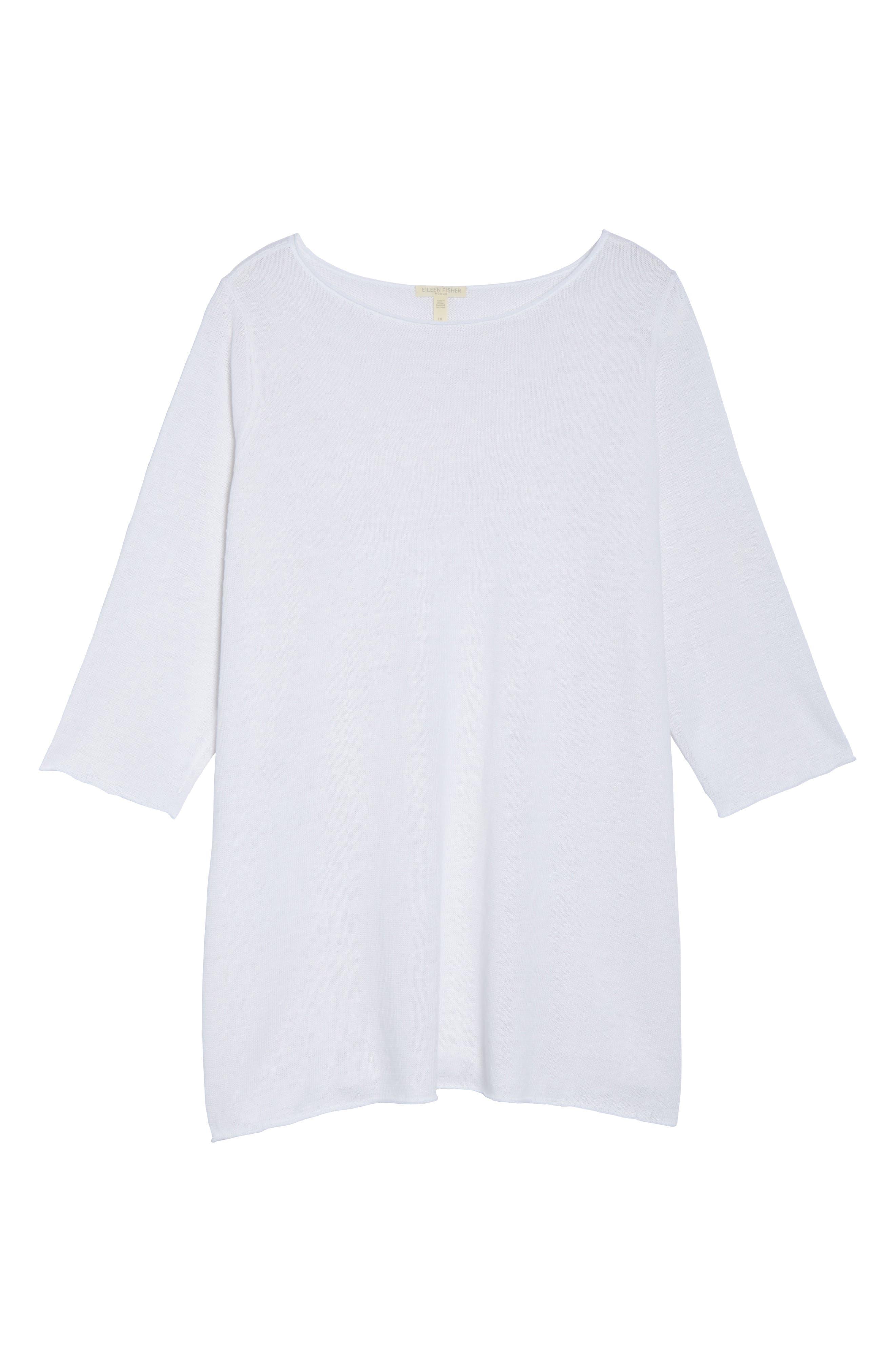 Side Tie Organic Linen Sweater,                             Alternate thumbnail 6, color,                             White