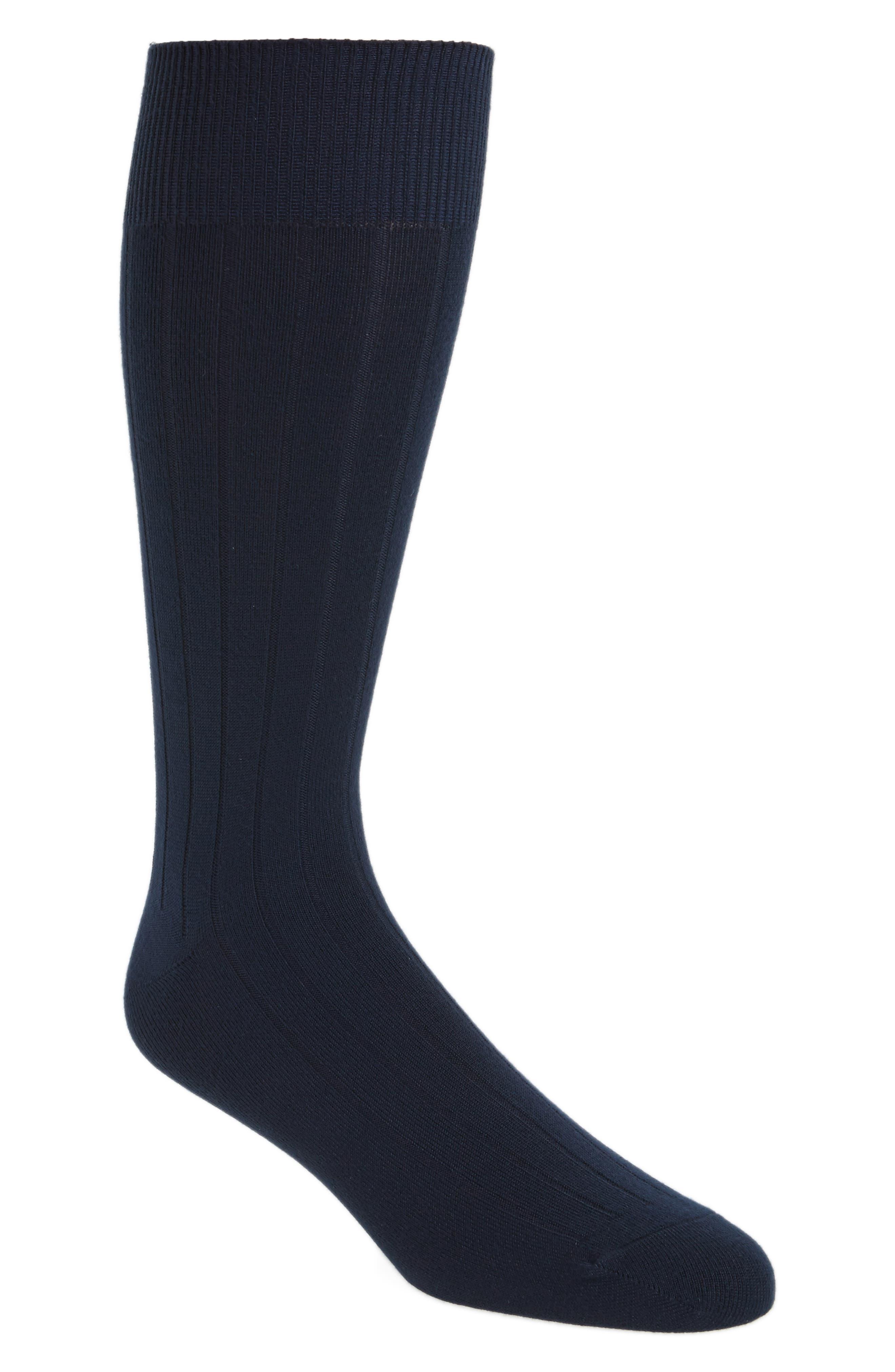Ultra Soft Solid Ribbed Socks,                         Main,                         color, Navy