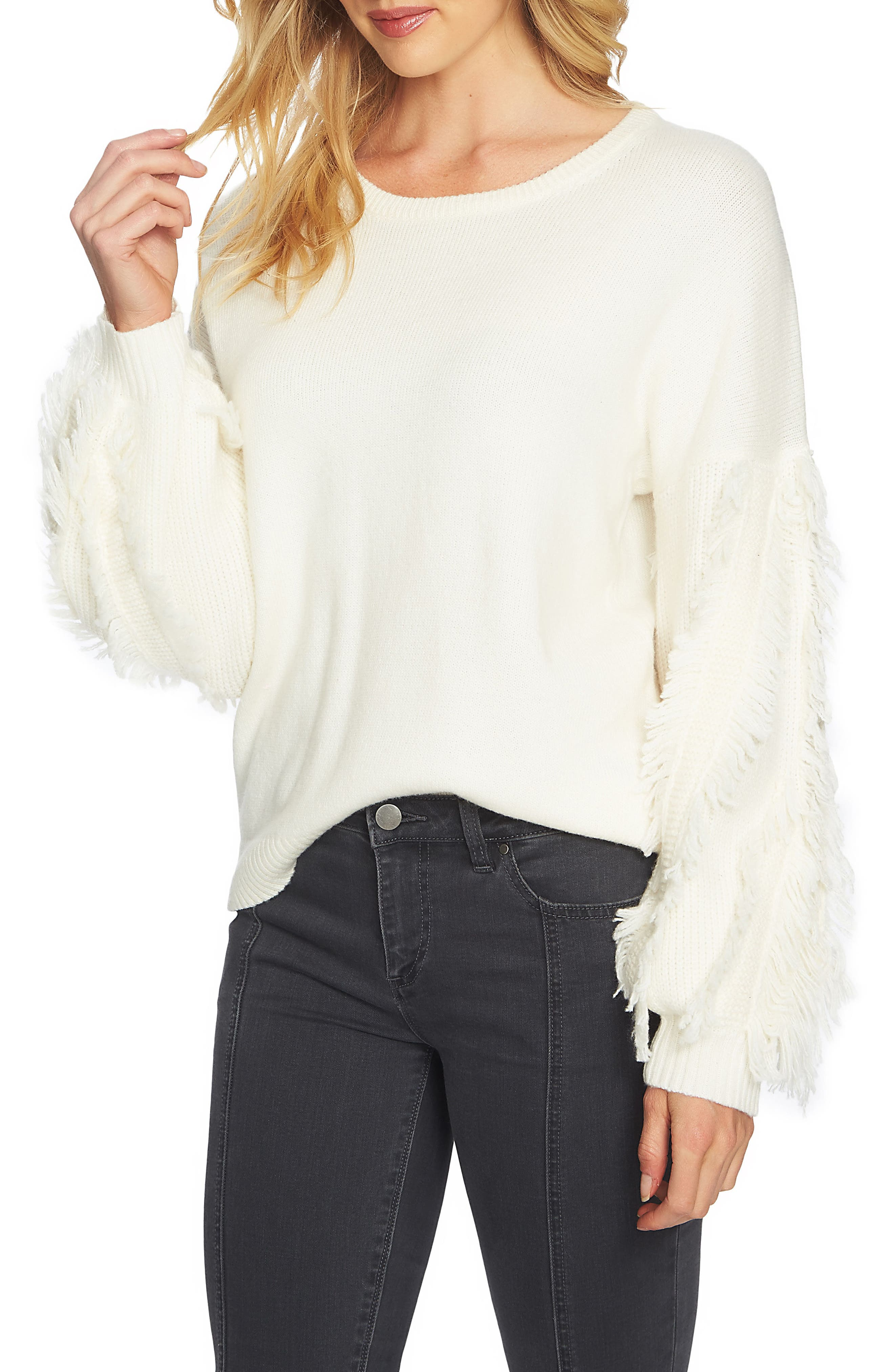 Fringe Sleeve Sweater,                             Main thumbnail 1, color,                             108-Antiq. White