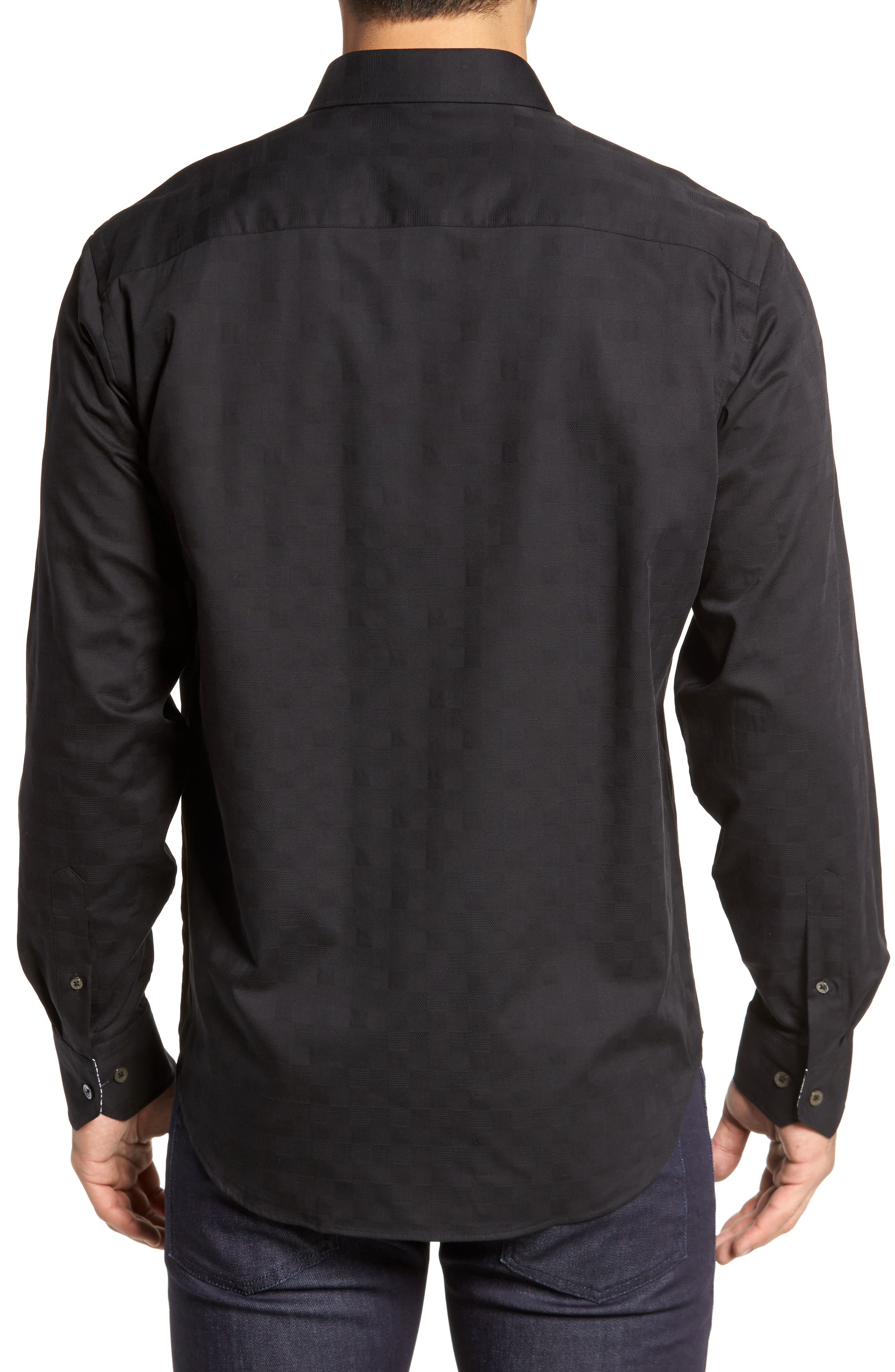 Classic Fit Check Jacquard Sport Shirt,                             Alternate thumbnail 2, color,                             Black