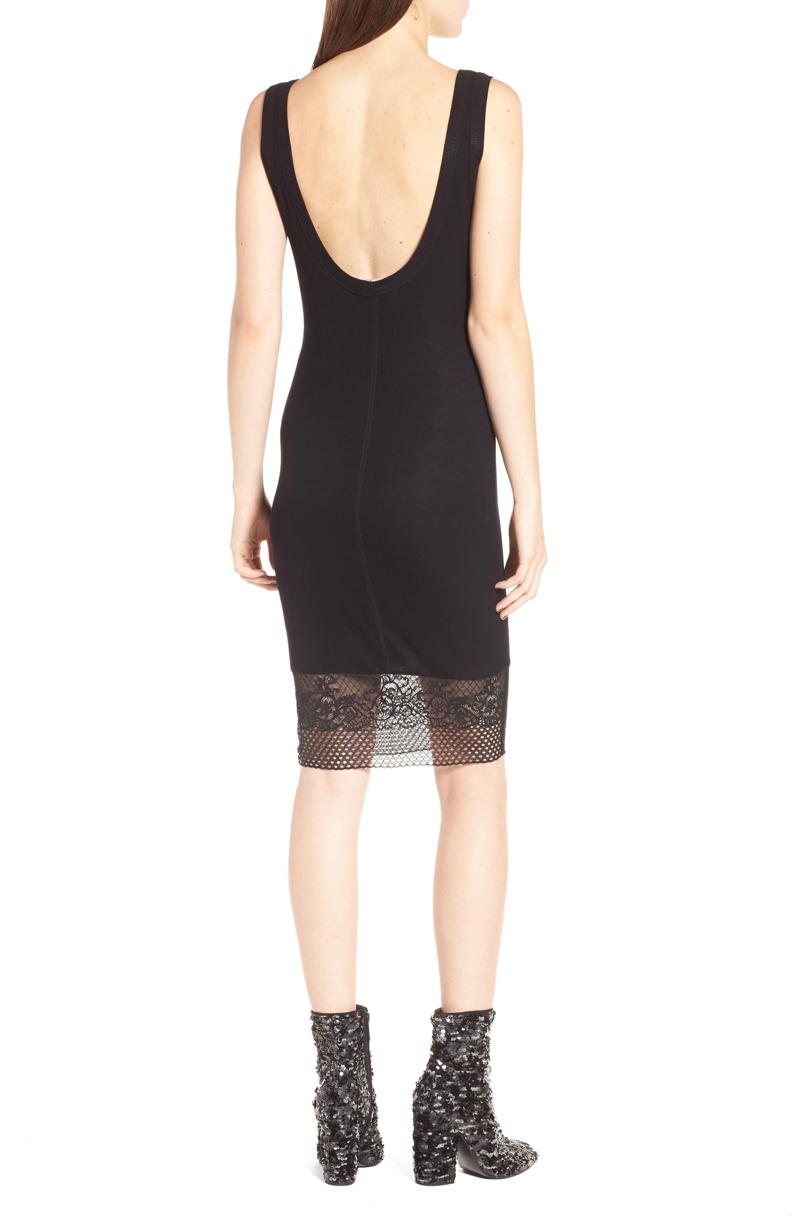Lace Hem Tank Dress,                             Alternate thumbnail 2, color,                             Black