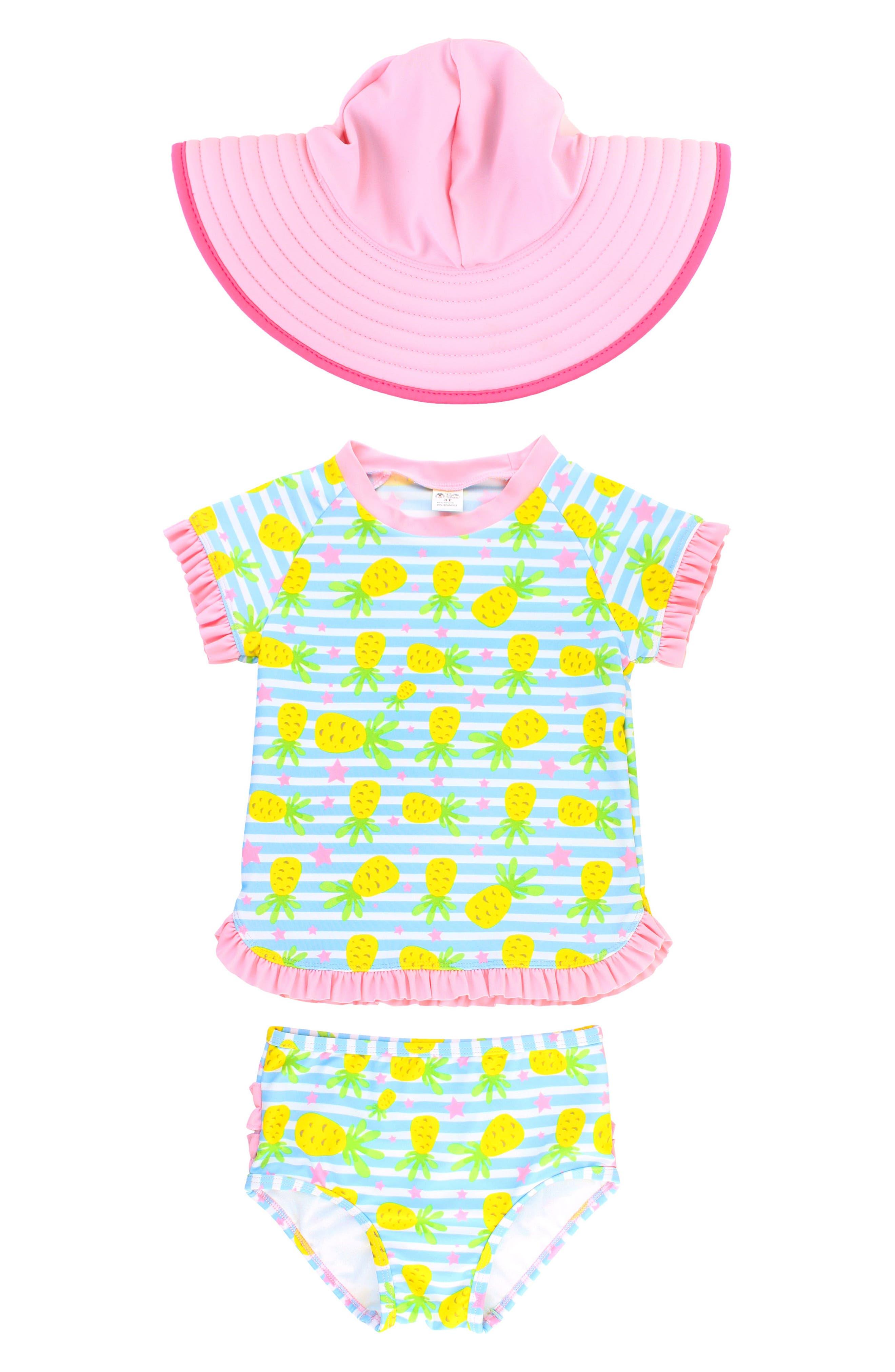 Pineapple Two-Piece Rashguard Swimsuit & Hat Set,                         Main,                         color, Blue
