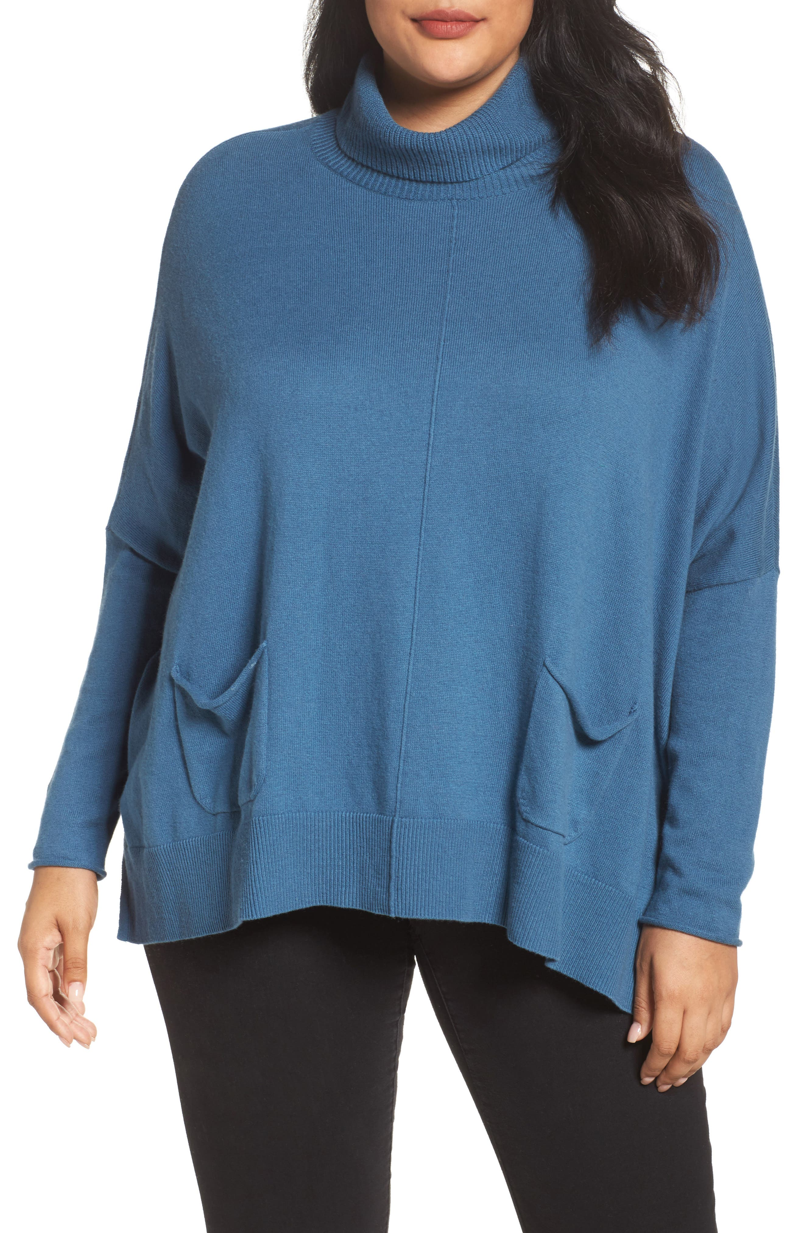 Relaxed Cotton & Cashmere Sweater,                             Main thumbnail 1, color,                             Teal Sound