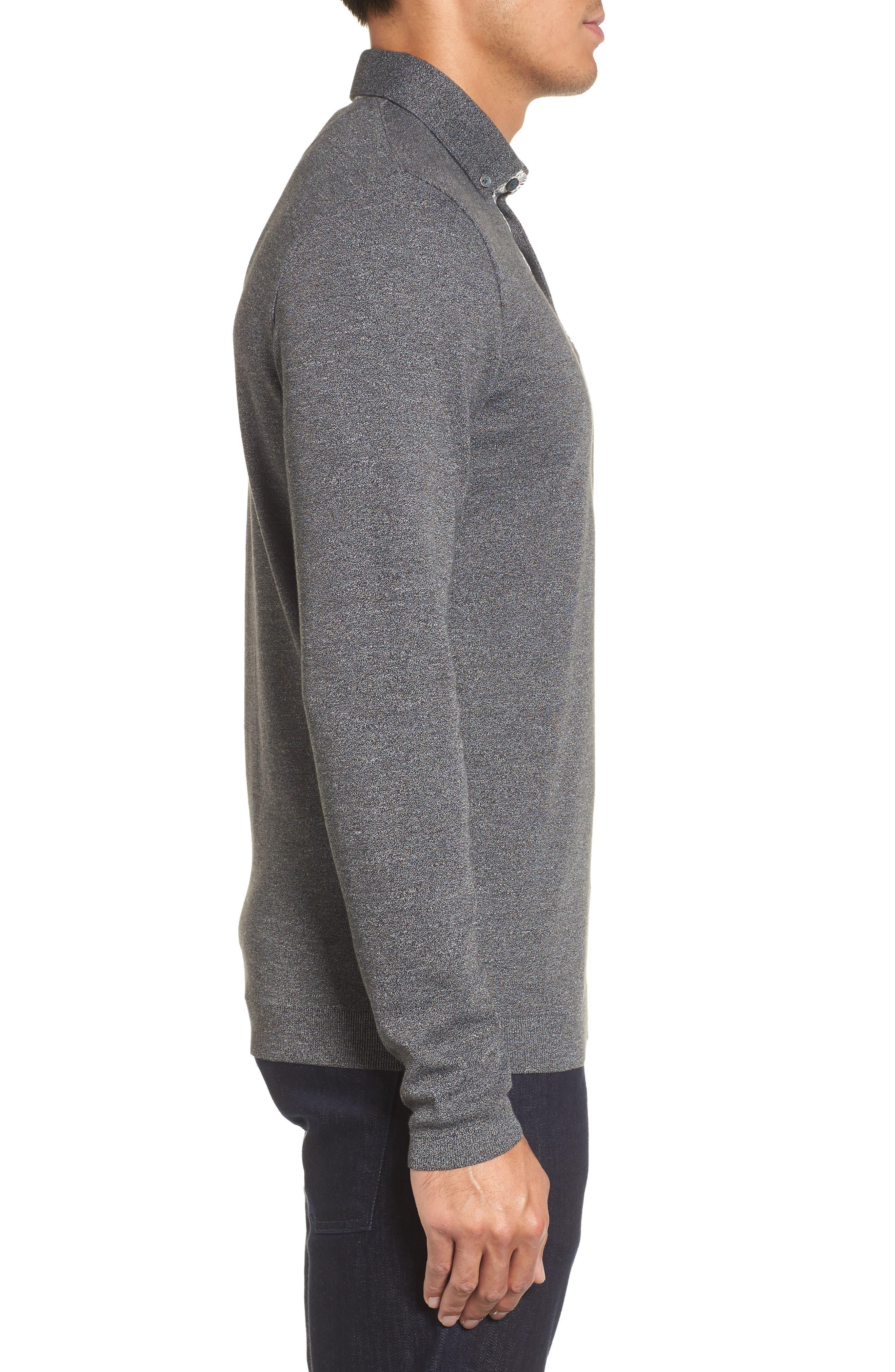 Yamway Modern Slim Fit Long Sleeve Polo,                             Alternate thumbnail 3, color,                             Black